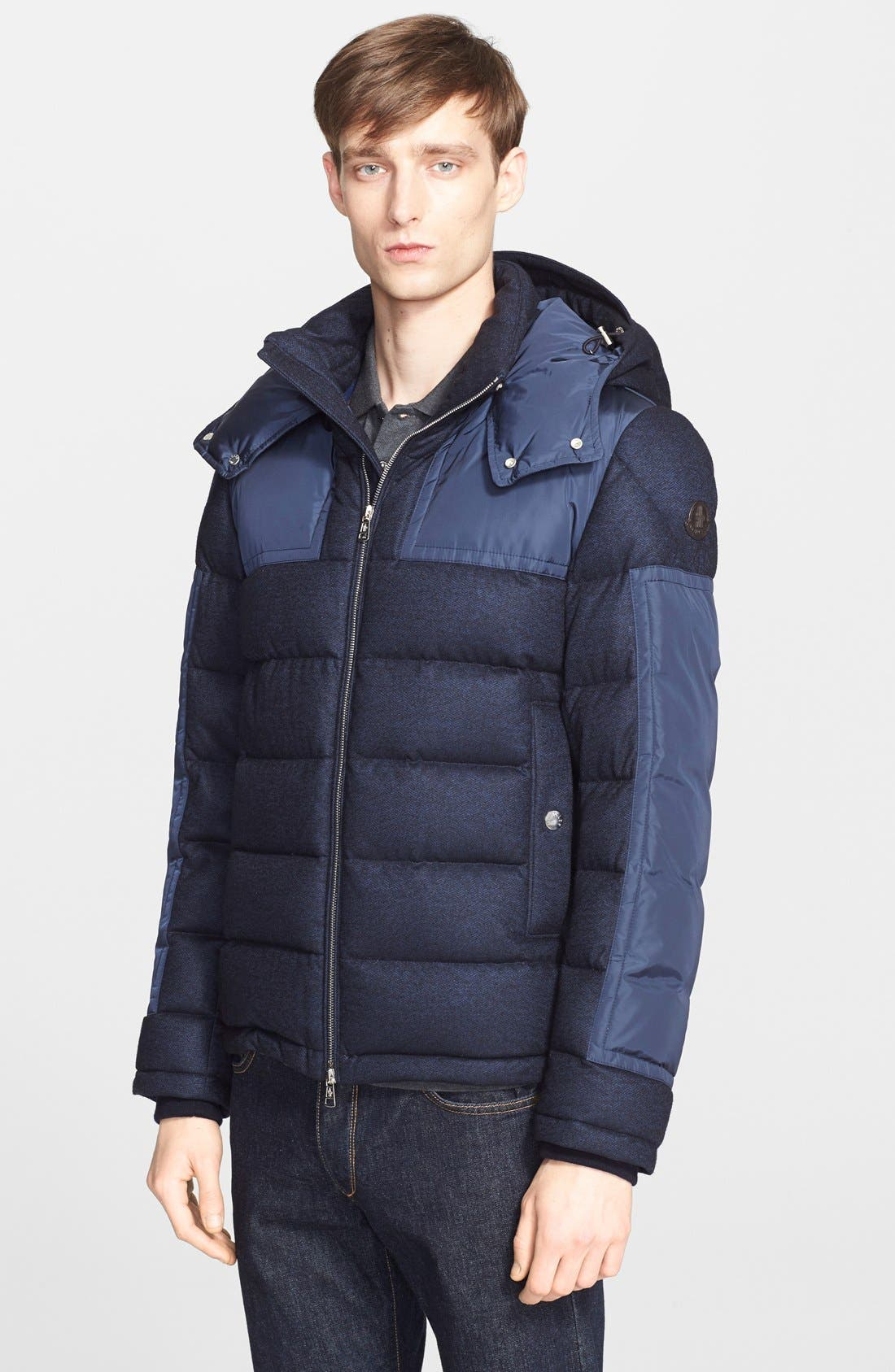 'Severac' Mixed Media Quilted Puffer, Main, color, 419