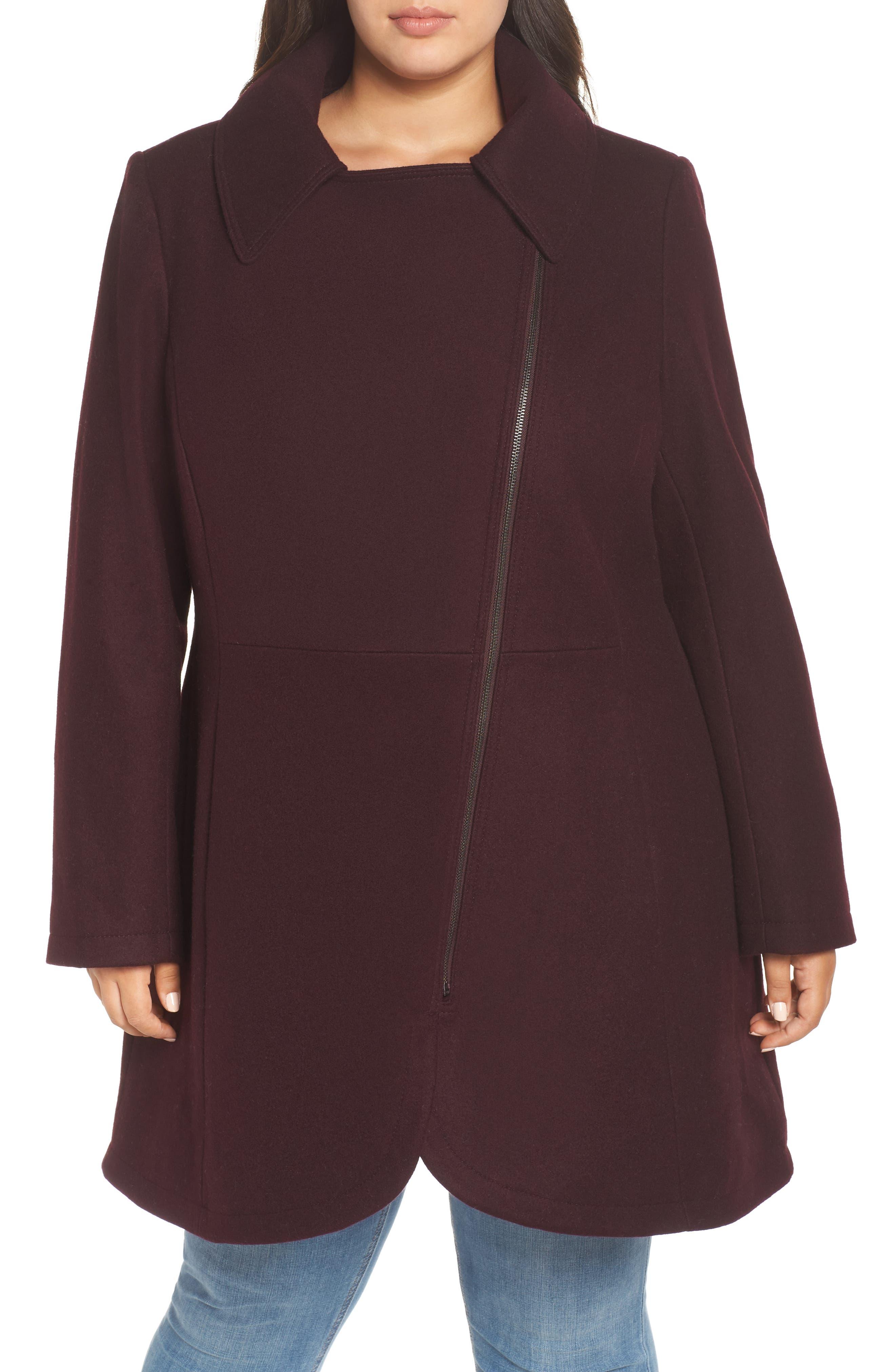 Asymmetrical Zip Wool Blend Coat,                             Alternate thumbnail 4, color,                             WINE