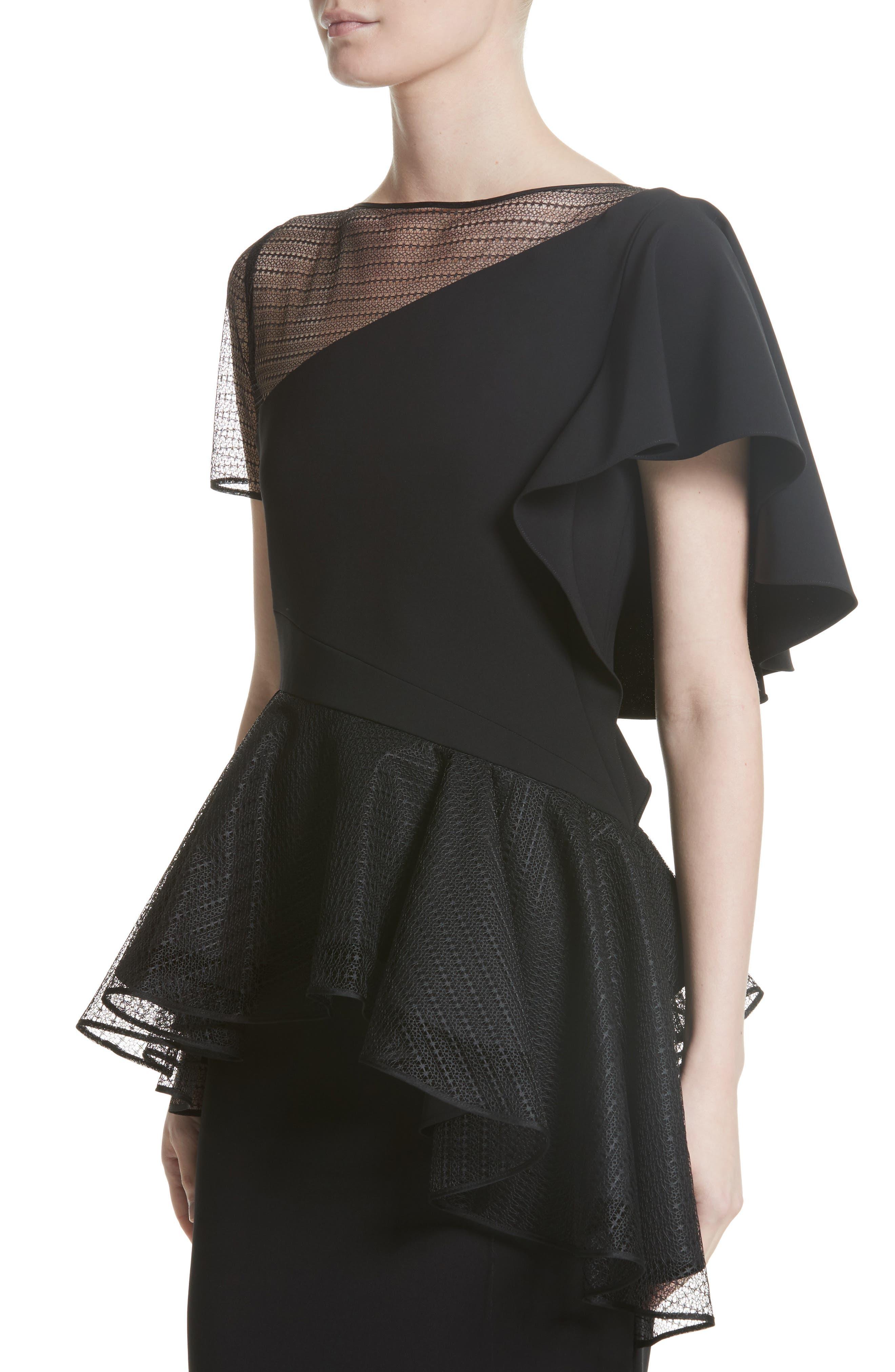 Ruffle Peplum Lace & Jersey Sheath Dress,                             Alternate thumbnail 4, color,                             001