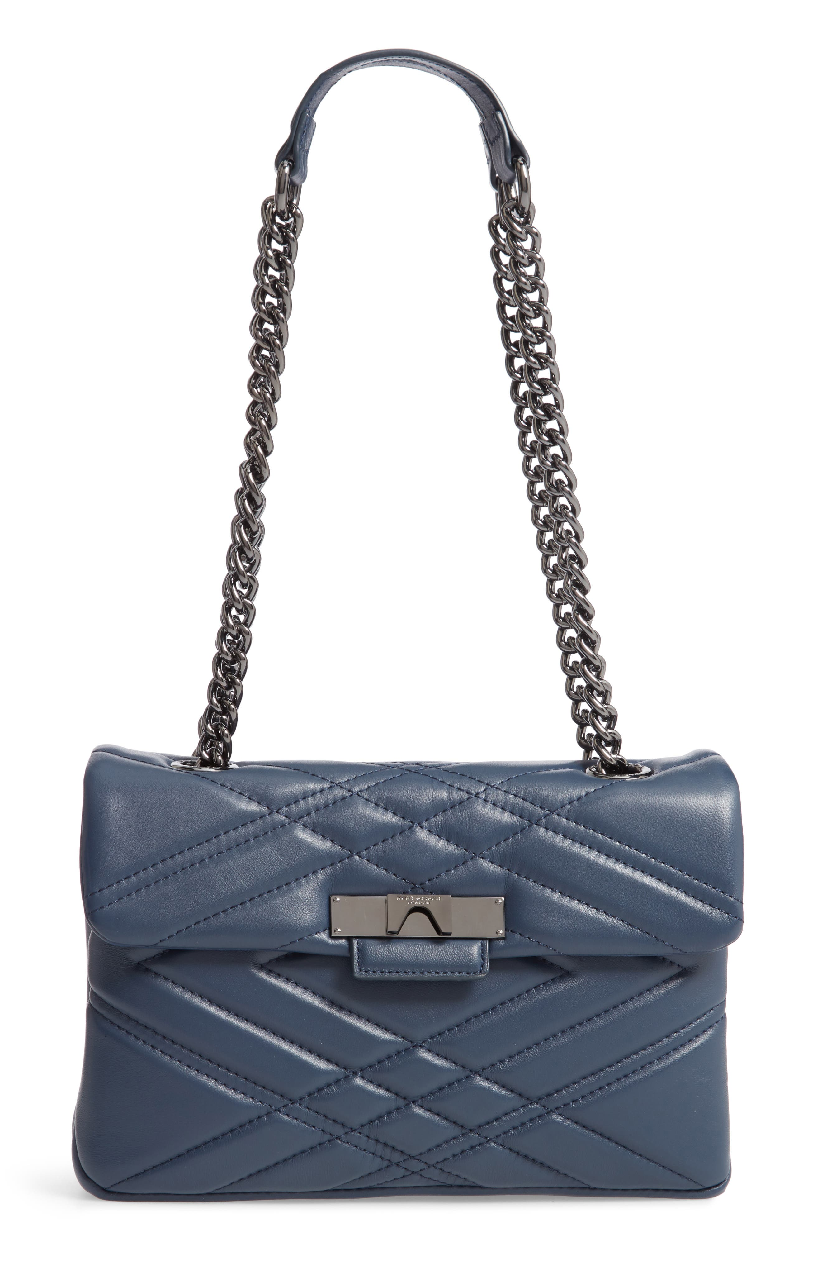 Mayfair Quilted Leather Shoulder Bag,                             Main thumbnail 1, color,                             BLUE/ DARK