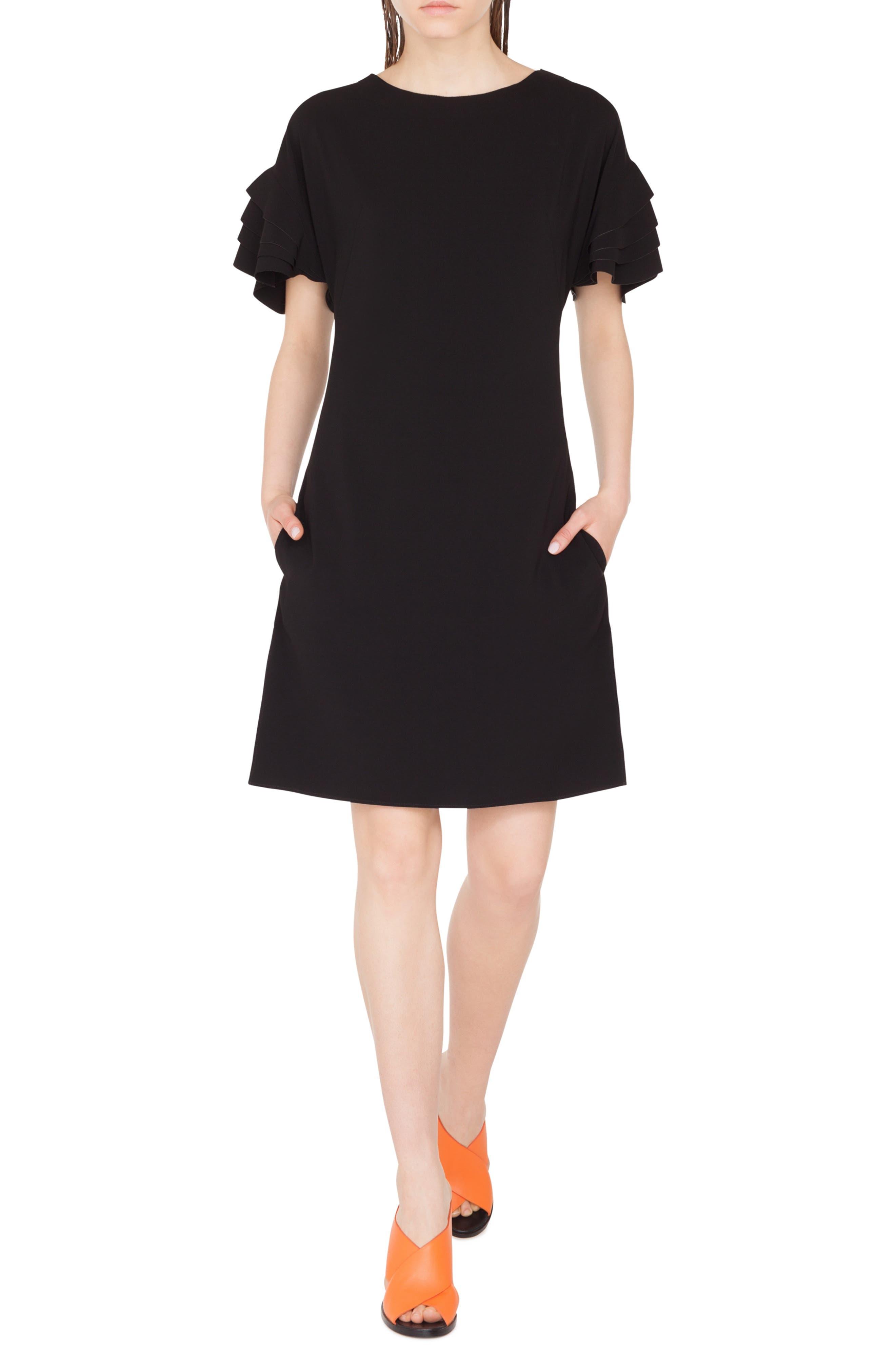 AKRIS PUNTO Layered Sleeve Dress, Main, color, NERO