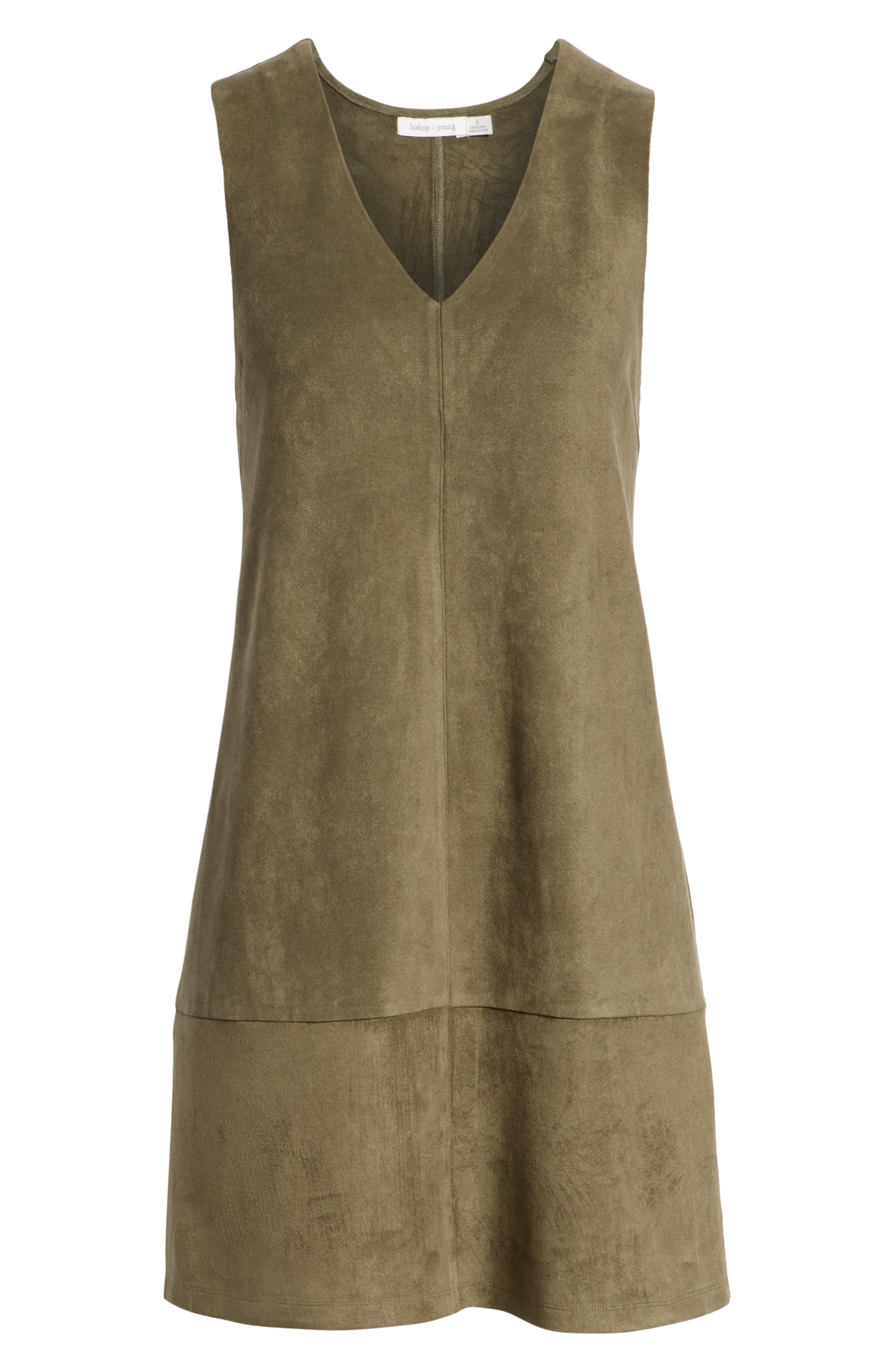 Bishop + Young Sueded Sleeveless Shift Dress,                             Alternate thumbnail 7, color,                             OLIVE