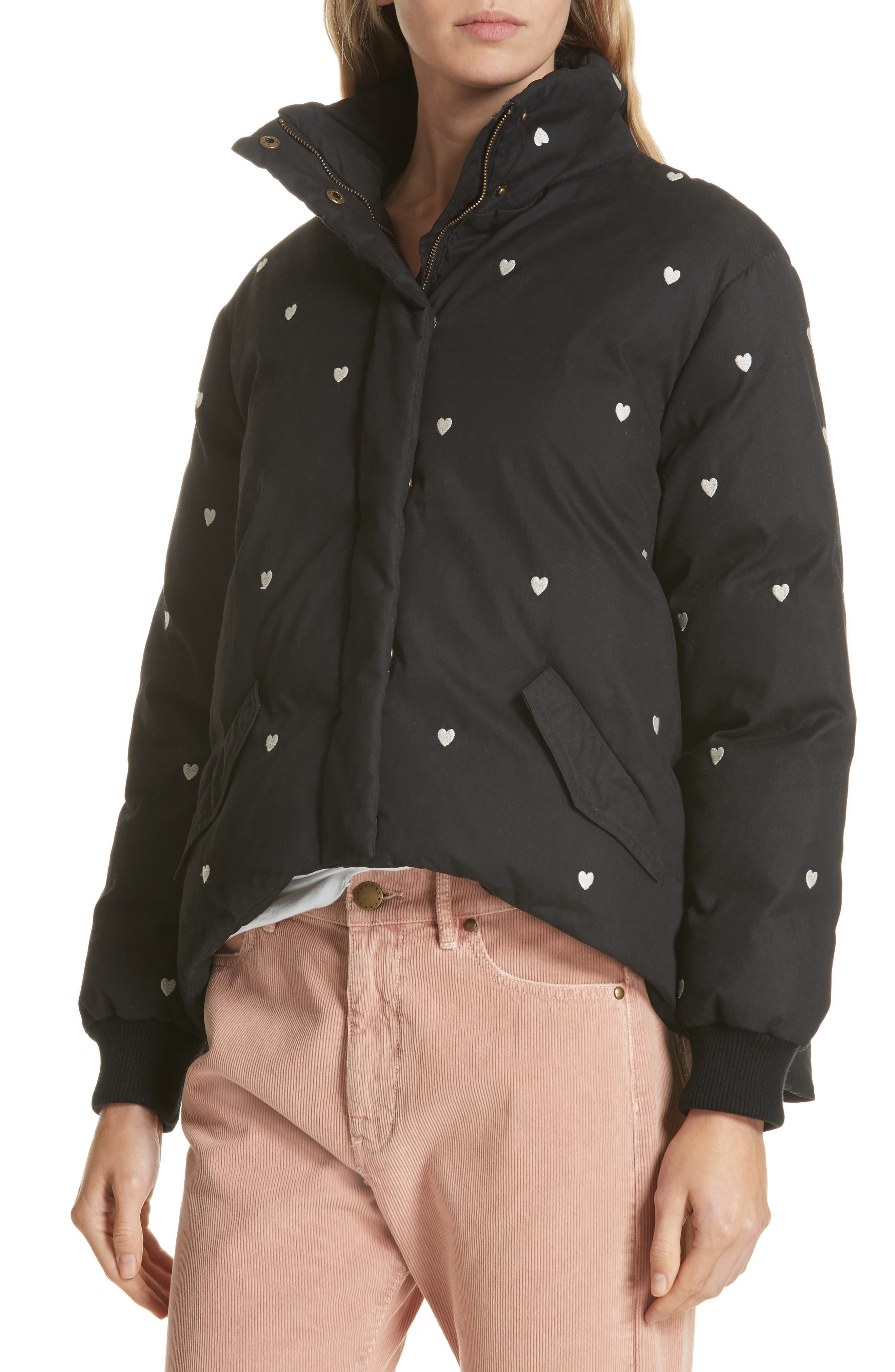 Heart Embroidered Puffer Coat,                             Alternate thumbnail 4, color,                             019