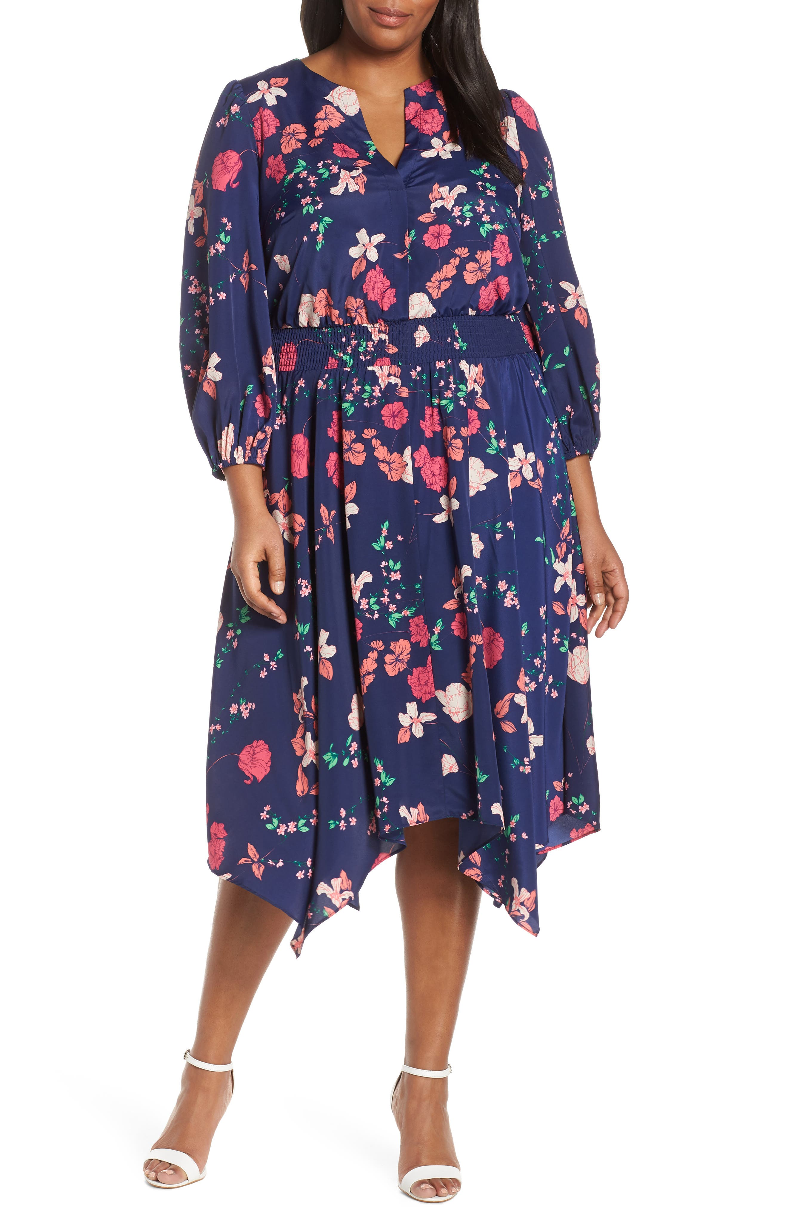 Plus Size Eliza J Poet Sleeve Smock Waist Dress, Blue