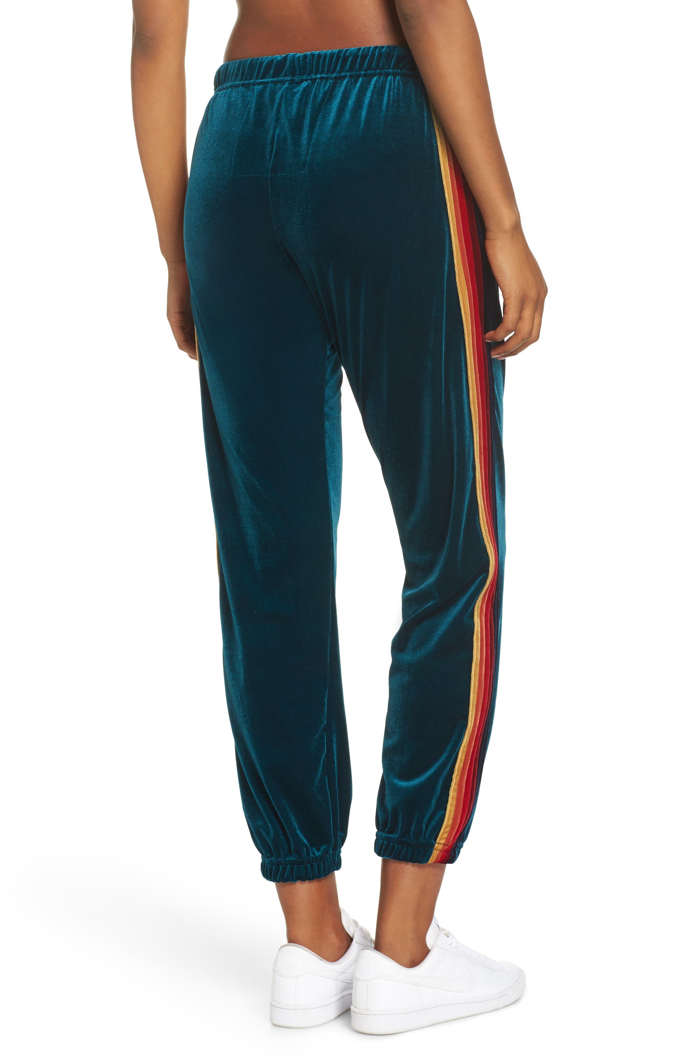 Classic Velvet Sweatpants,                             Alternate thumbnail 2, color,                             TEAL/ RAINBOW