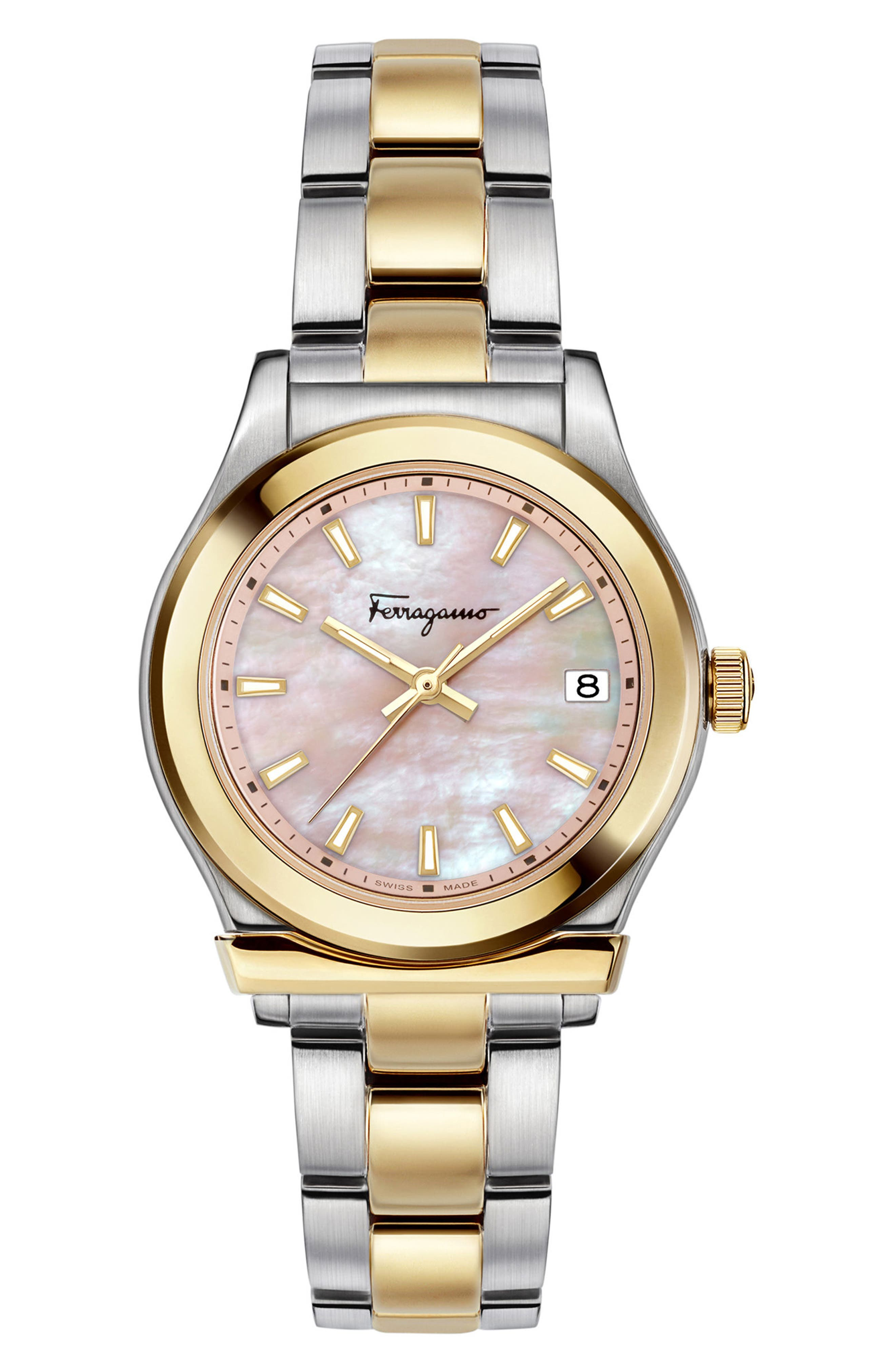 1898 Bracelet Watch, 33mm,                             Main thumbnail 1, color,                             SILVER/ PINK MOP/ GOLD