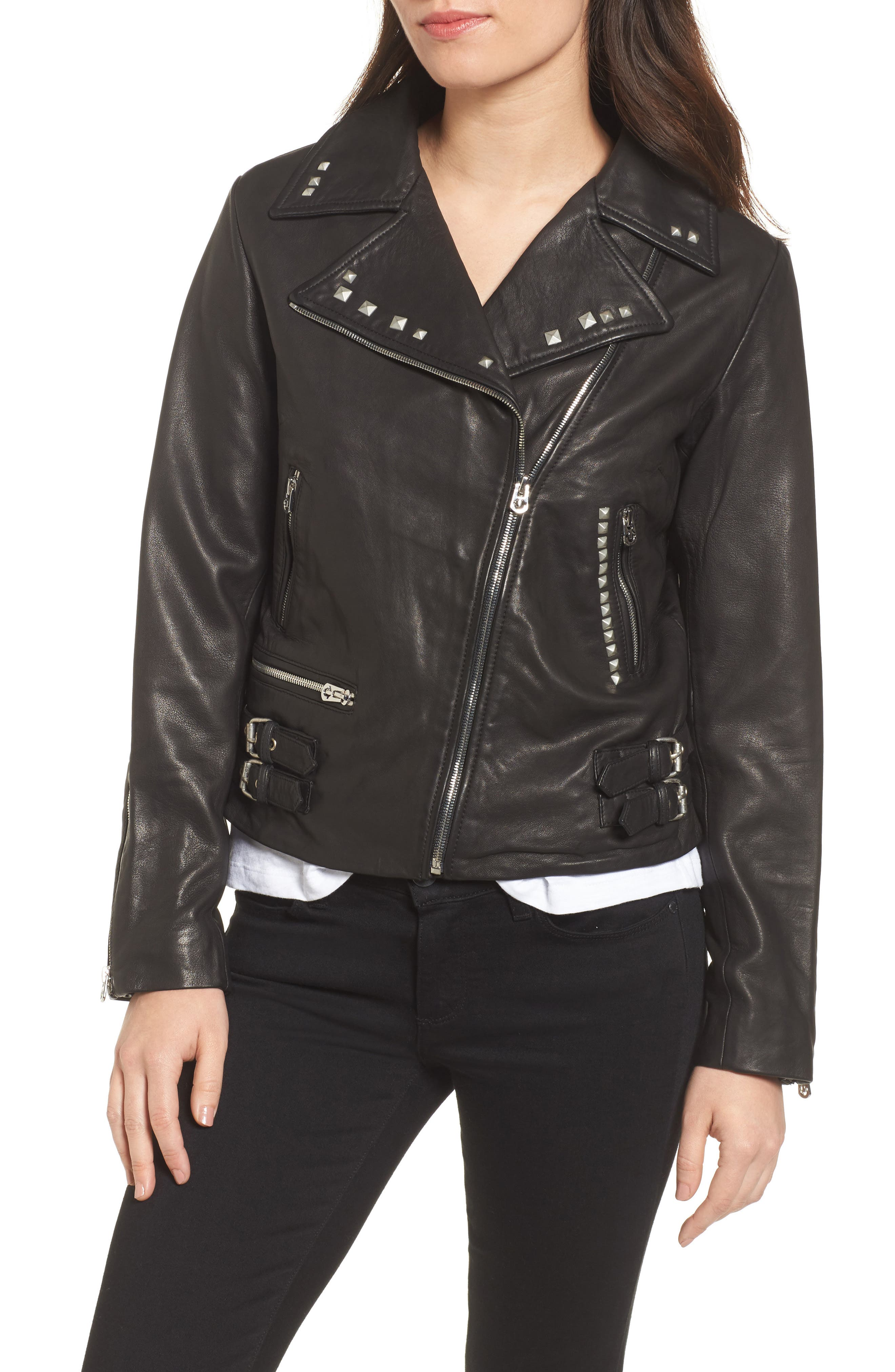 Studded Leather Jacket,                             Alternate thumbnail 4, color,