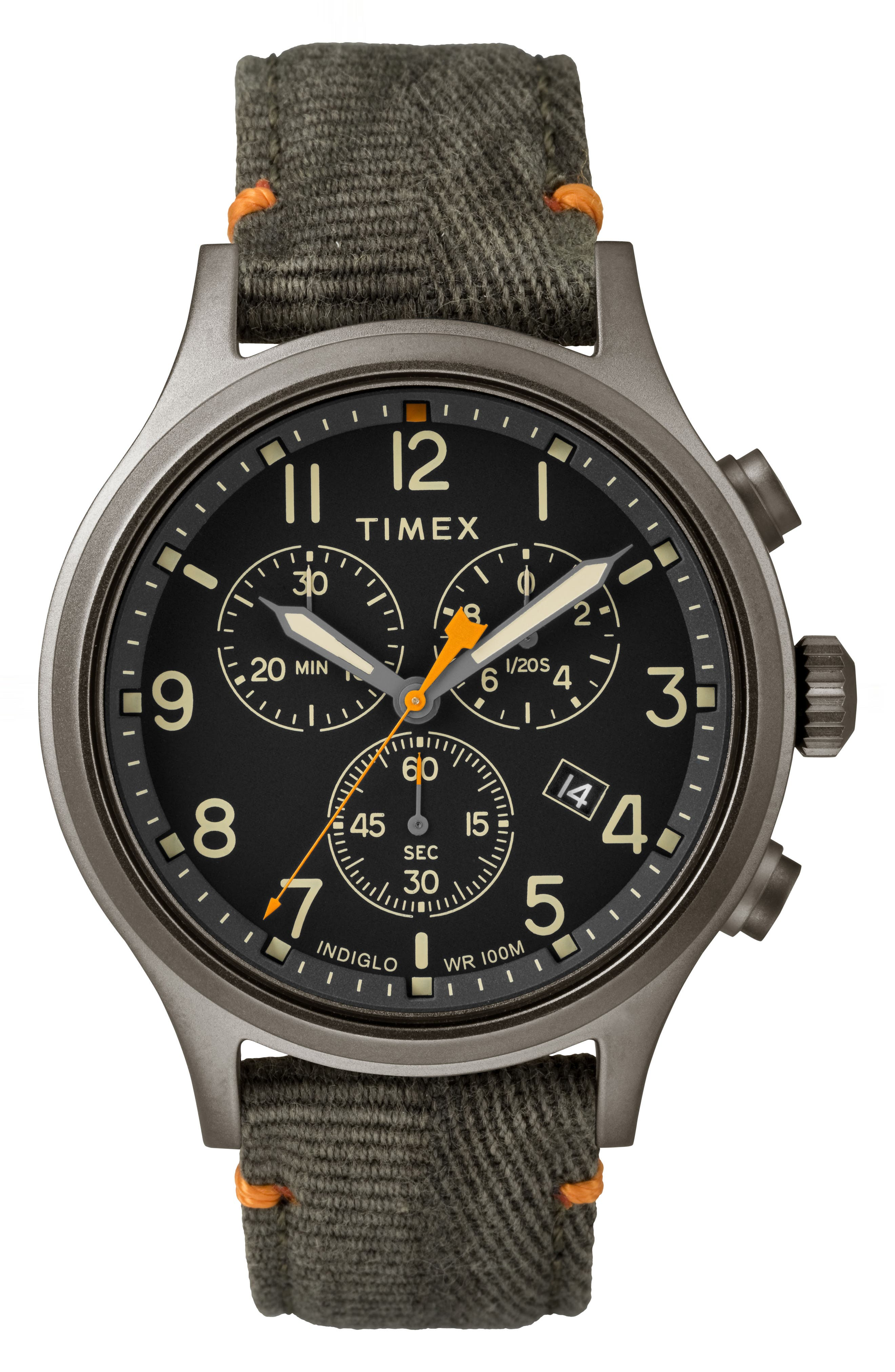 Timex Allied Chronograph Canvas Strap Watch, 42mm,                             Main thumbnail 1, color,                             OLIVE/ BLACK/ GREY