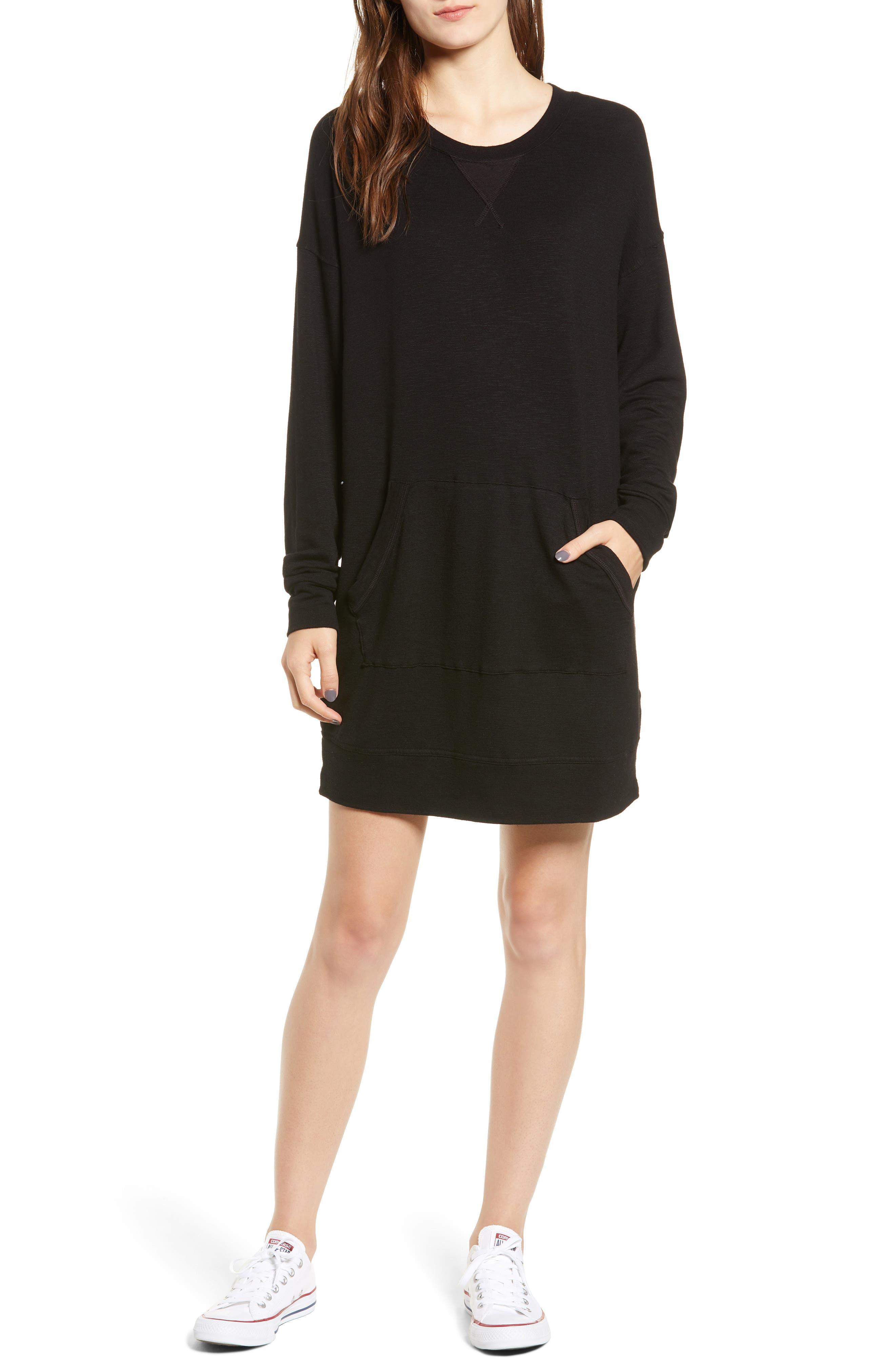 Active Sweatshirt Dress,                         Main,                         color, BLACK
