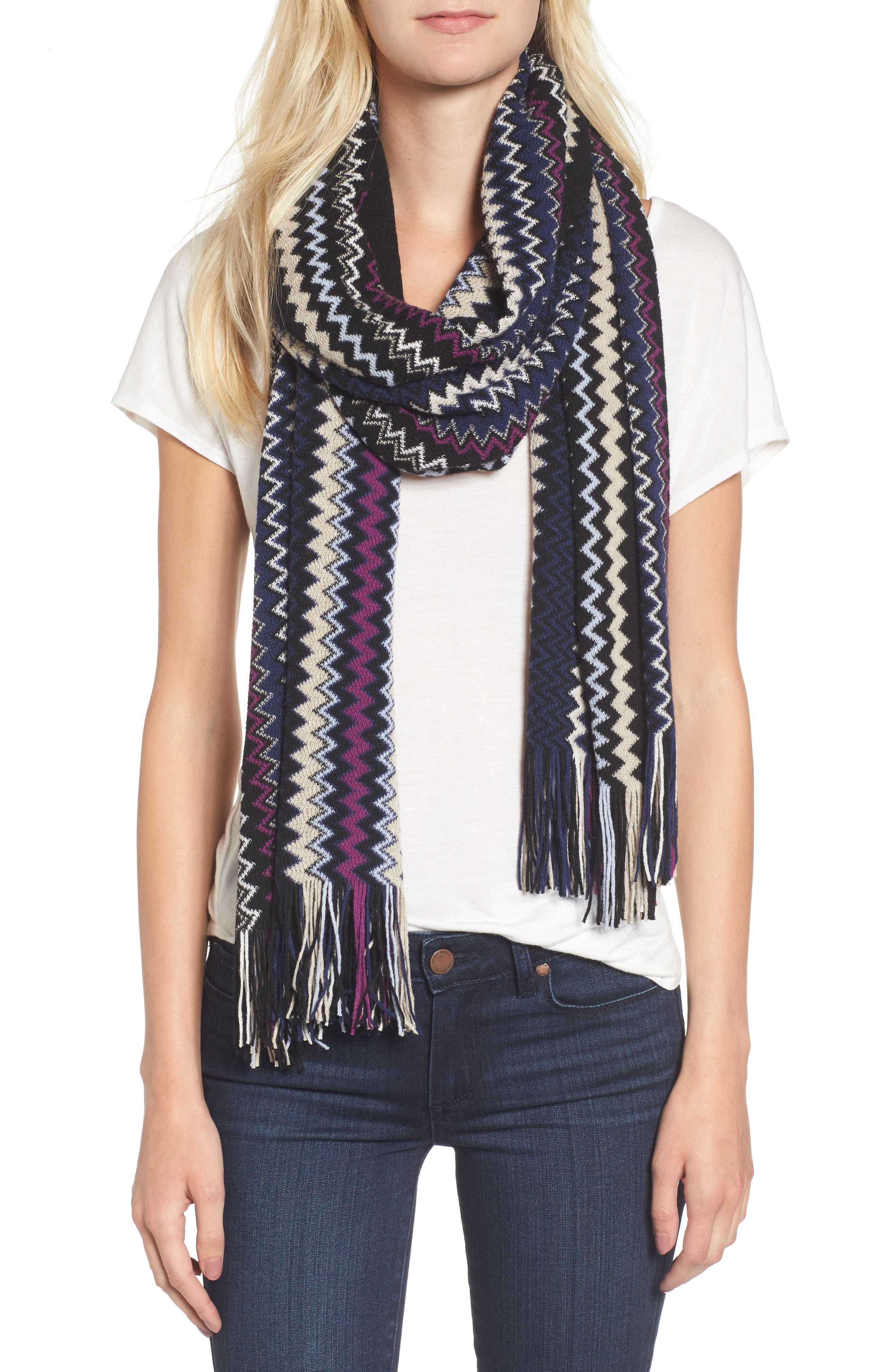 Zigzag Fringe Cashmere Scarf,                             Alternate thumbnail 3, color,