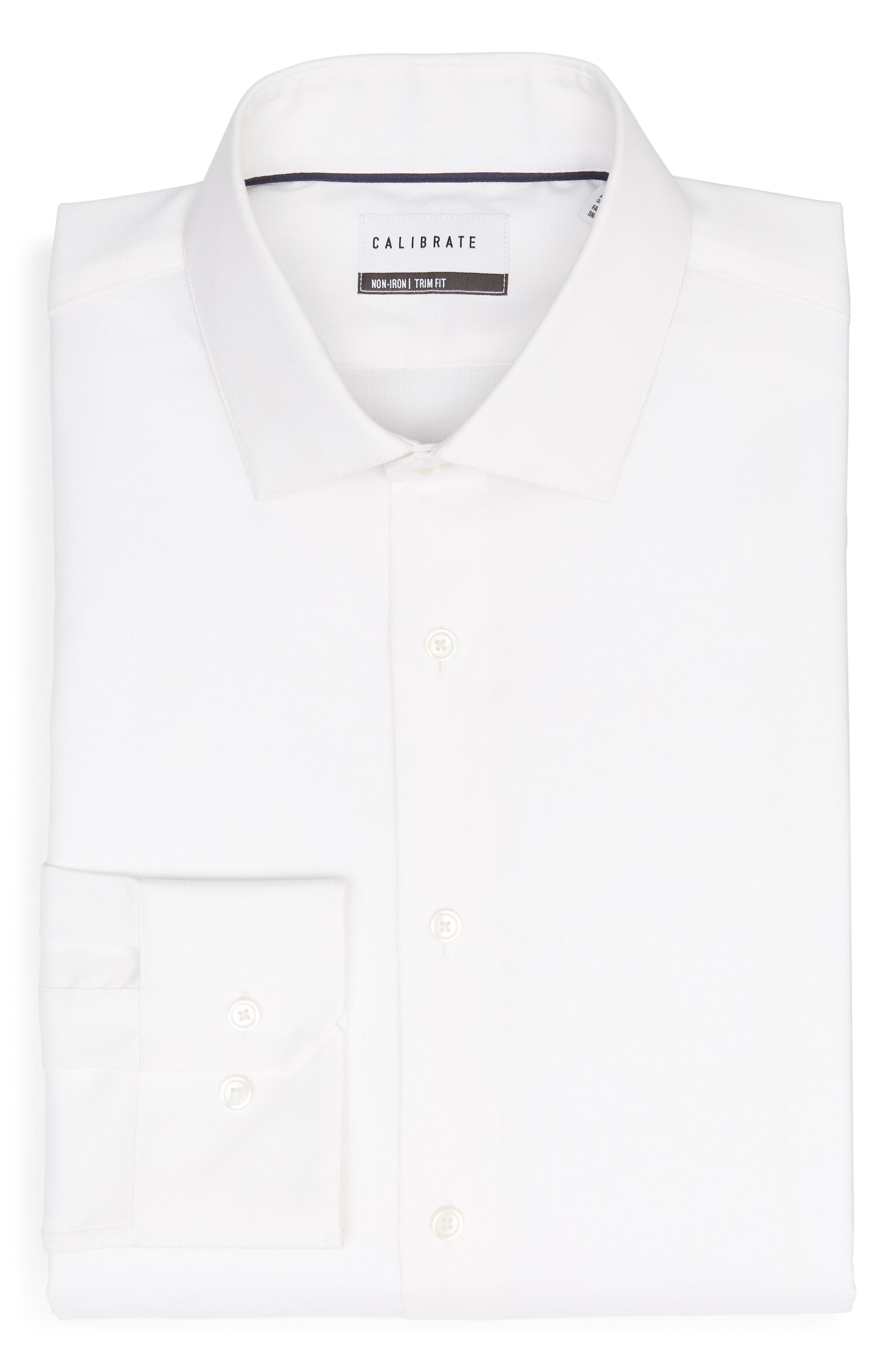 Trim Fit Stretch No-Iron Solid Dress Shirt,                             Alternate thumbnail 5, color,                             WHITE