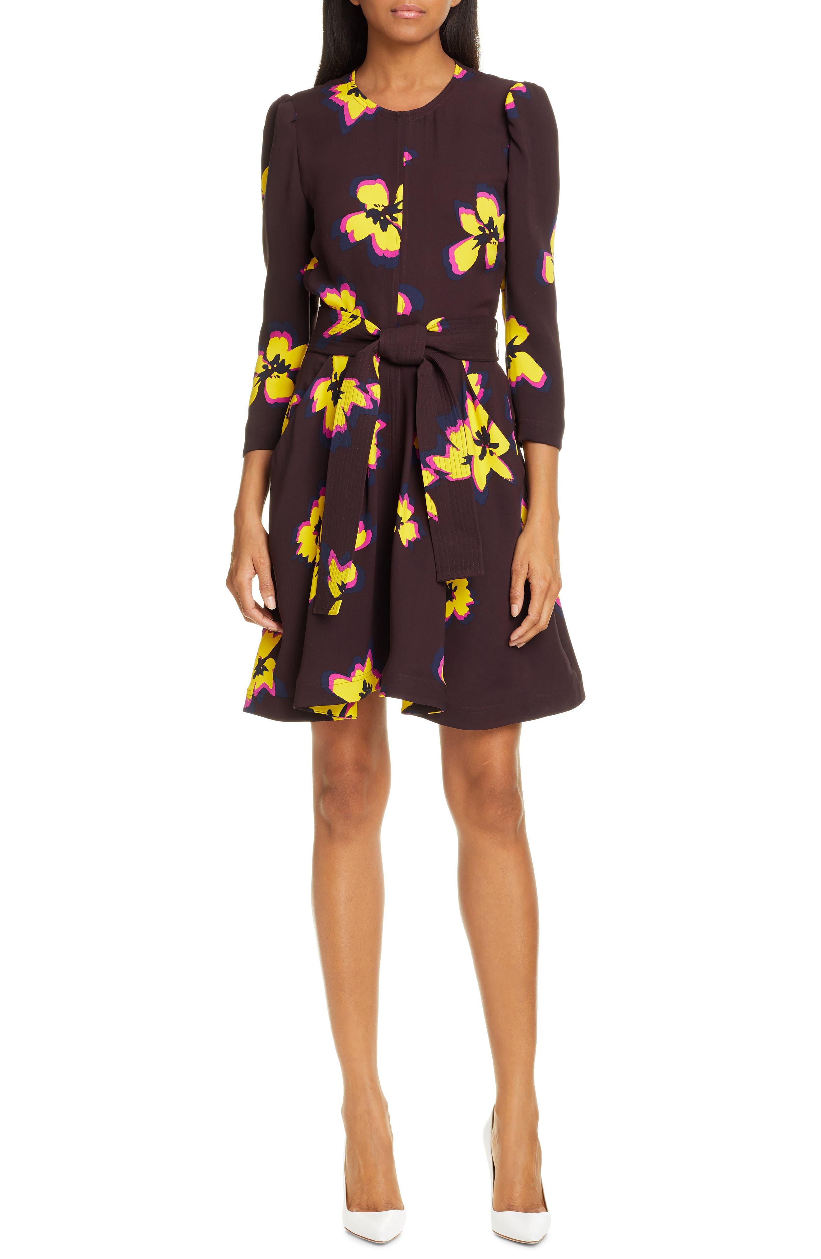 A.l.c. Stella Floral Print Silk Dress, Brown