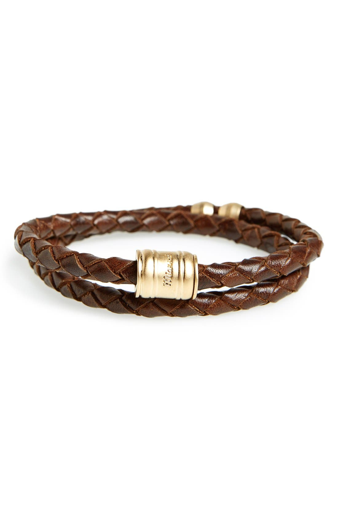 Braided Leather Bracelet,                             Main thumbnail 4, color,