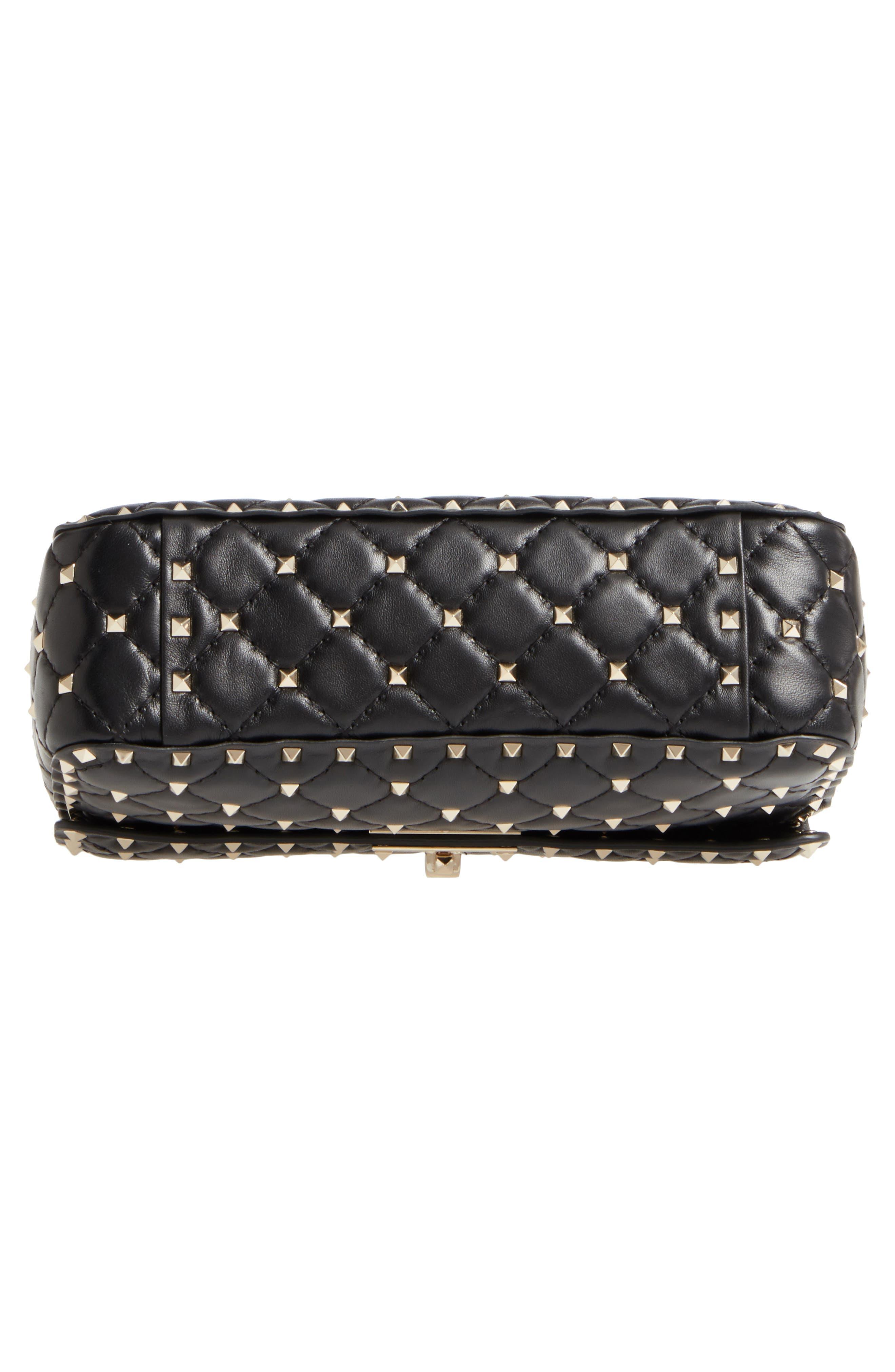 Medium Rockstud Matelassé Quilted Leather Shoulder Bag,                             Alternate thumbnail 6, color,                             BLACK