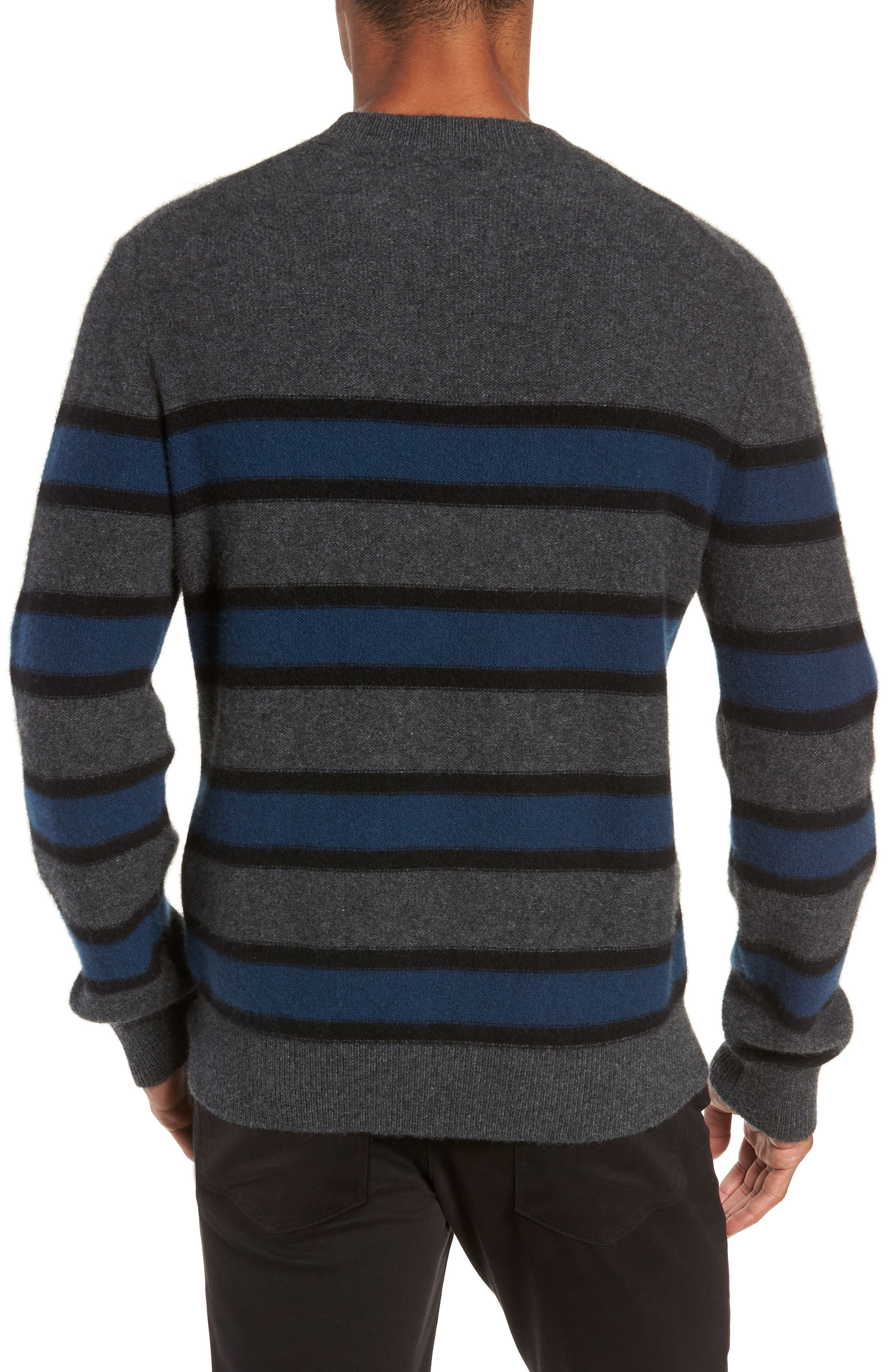 Regular Fit Stripe Cashmere Sweater,                             Alternate thumbnail 2, color,                             DARK HEATHER GREY/BLUE