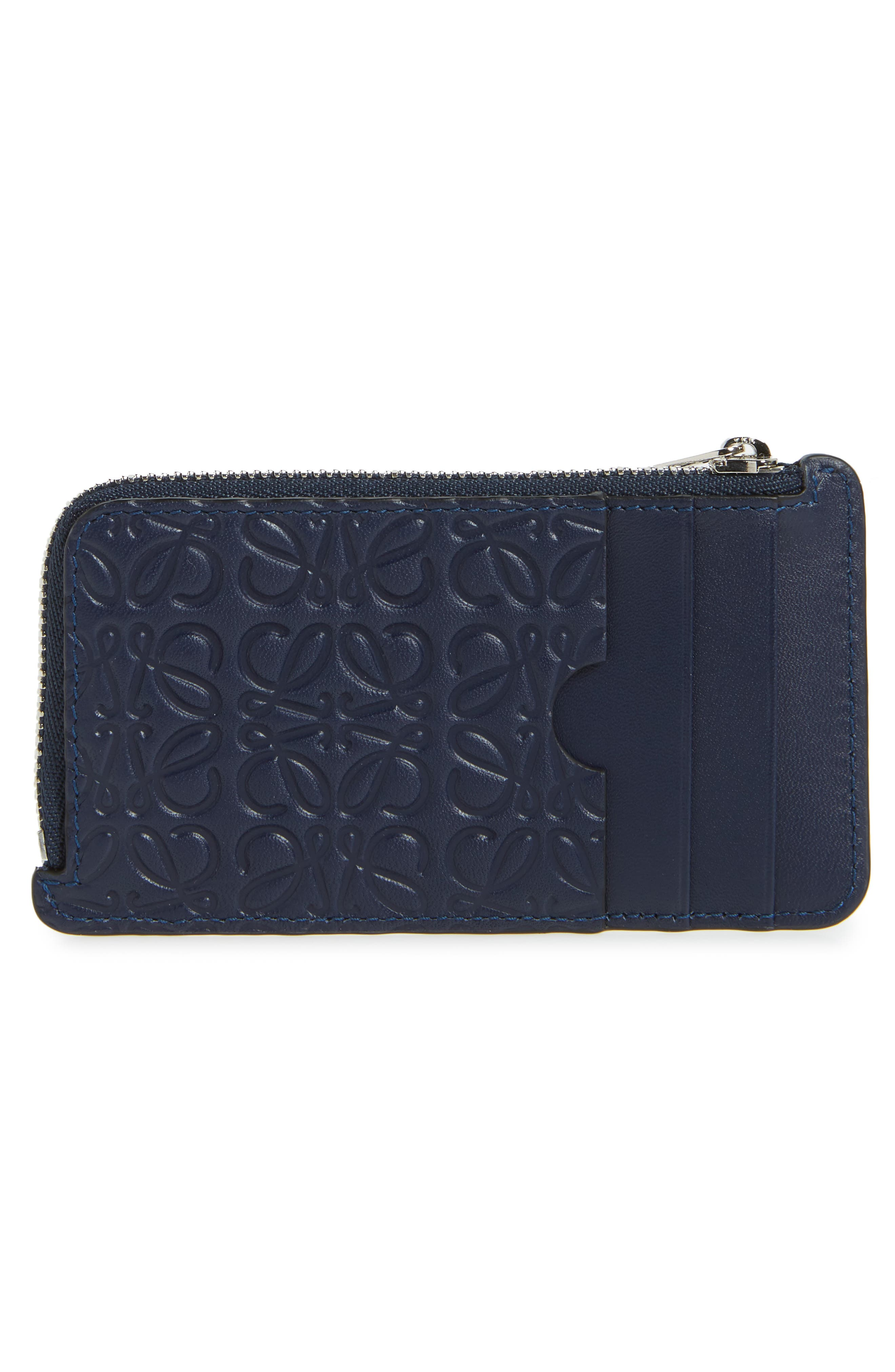 Coin & Card Zip Pouch,                             Alternate thumbnail 3, color,                             NAVY BLUE