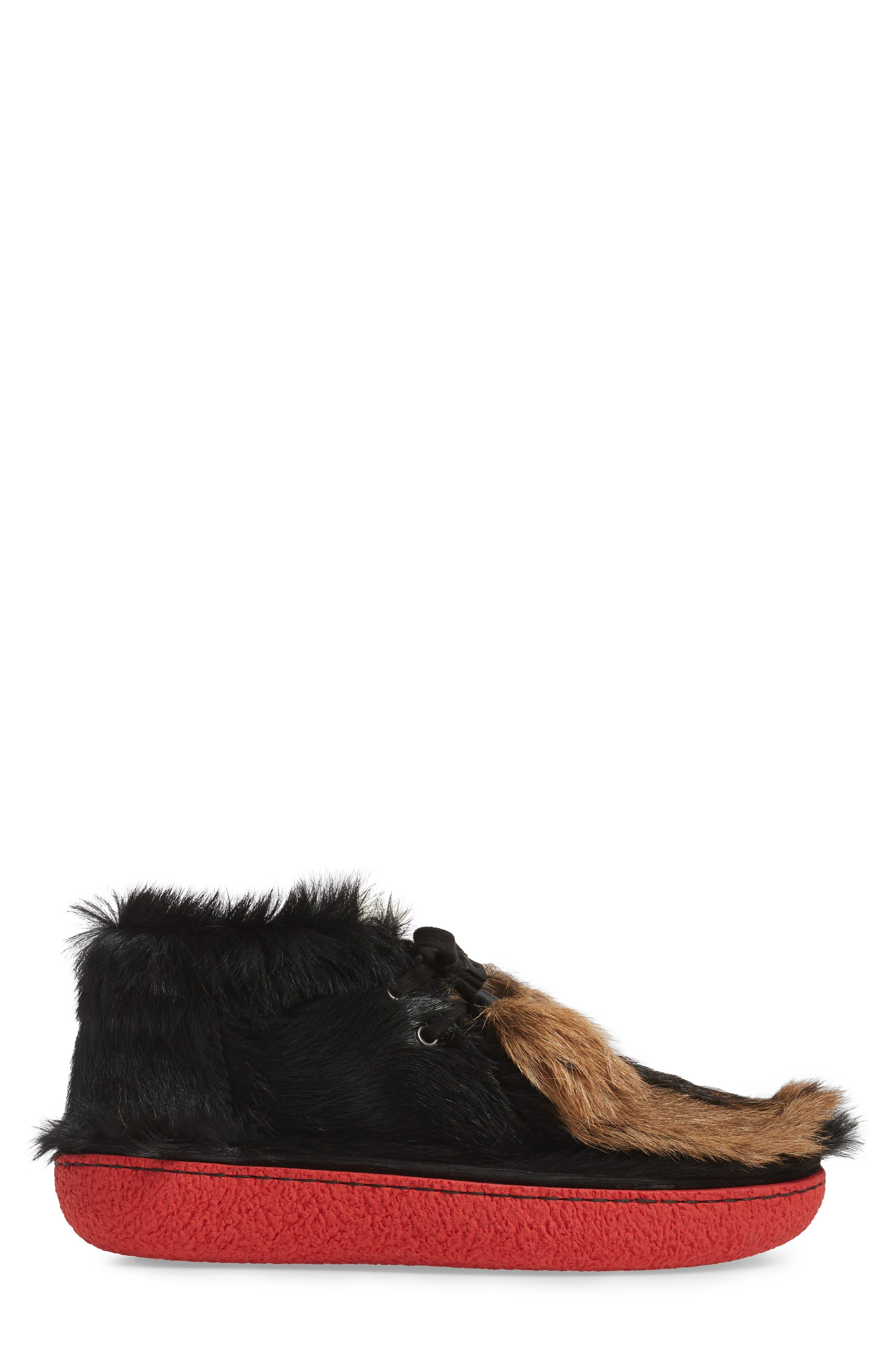 Genuine Calf and Goat Hair Chukka Boot,                             Alternate thumbnail 3, color,                             001