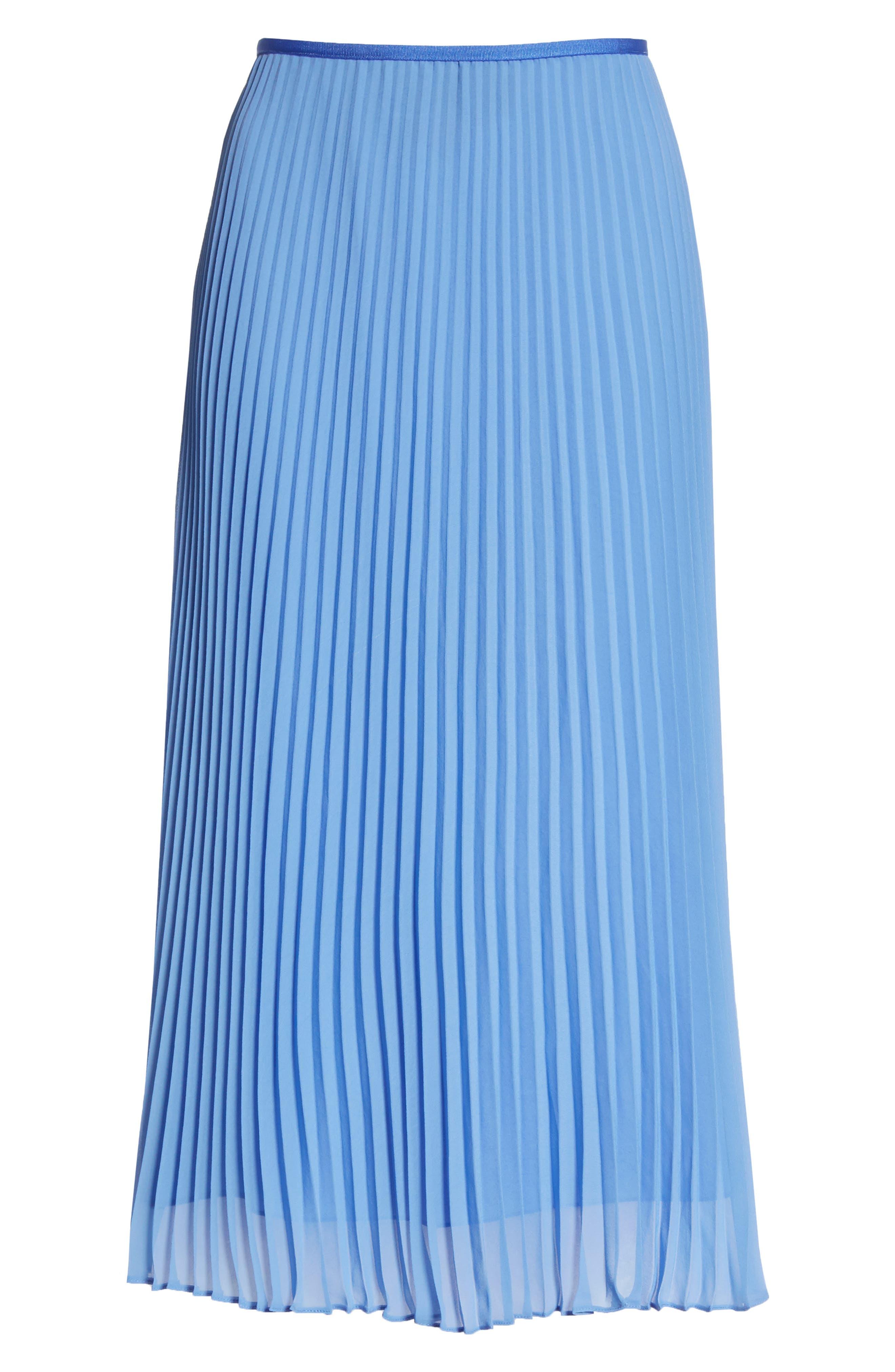 Pleat Midi Skirt,                             Alternate thumbnail 6, color,                             BERMUDA BLUE