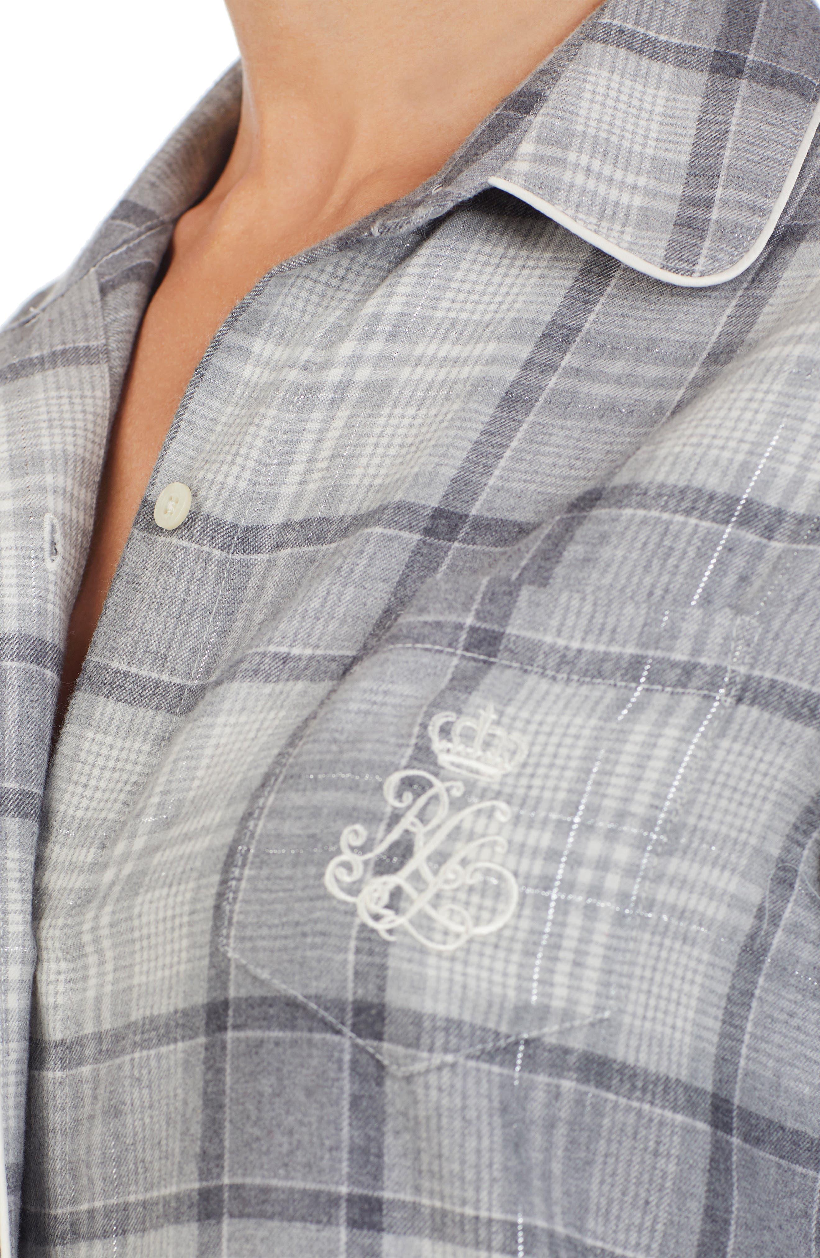 Plaid Flannel Sleep Shirt,                             Alternate thumbnail 3, color,                             GREY PLAID