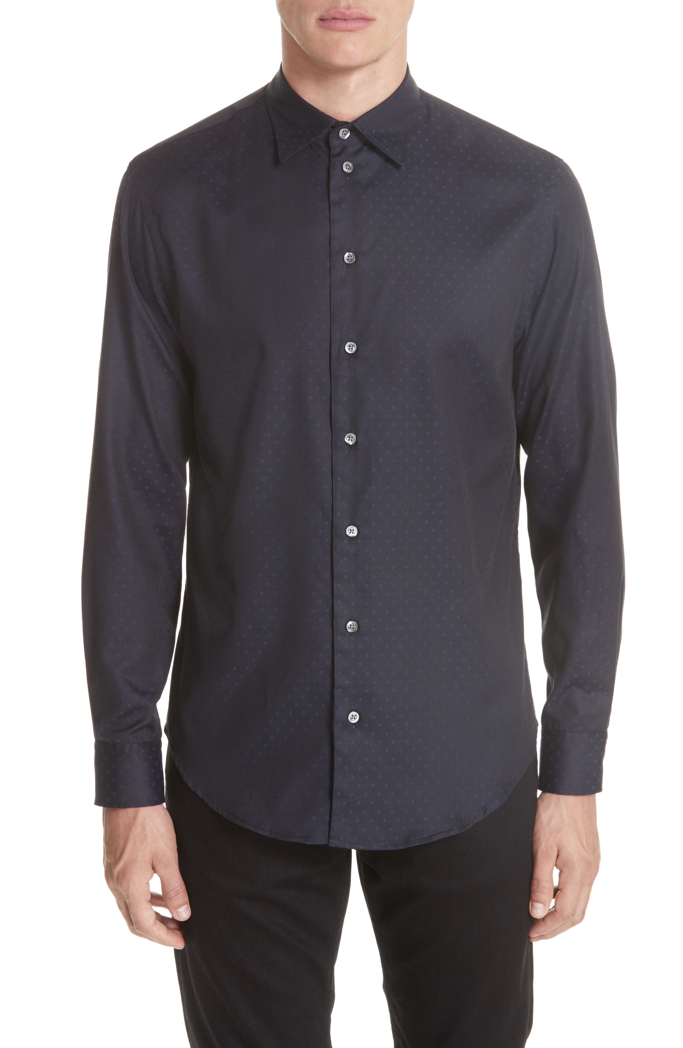Regular Fit Stretch Solid Sport Shirt,                             Main thumbnail 1, color,                             NAVY