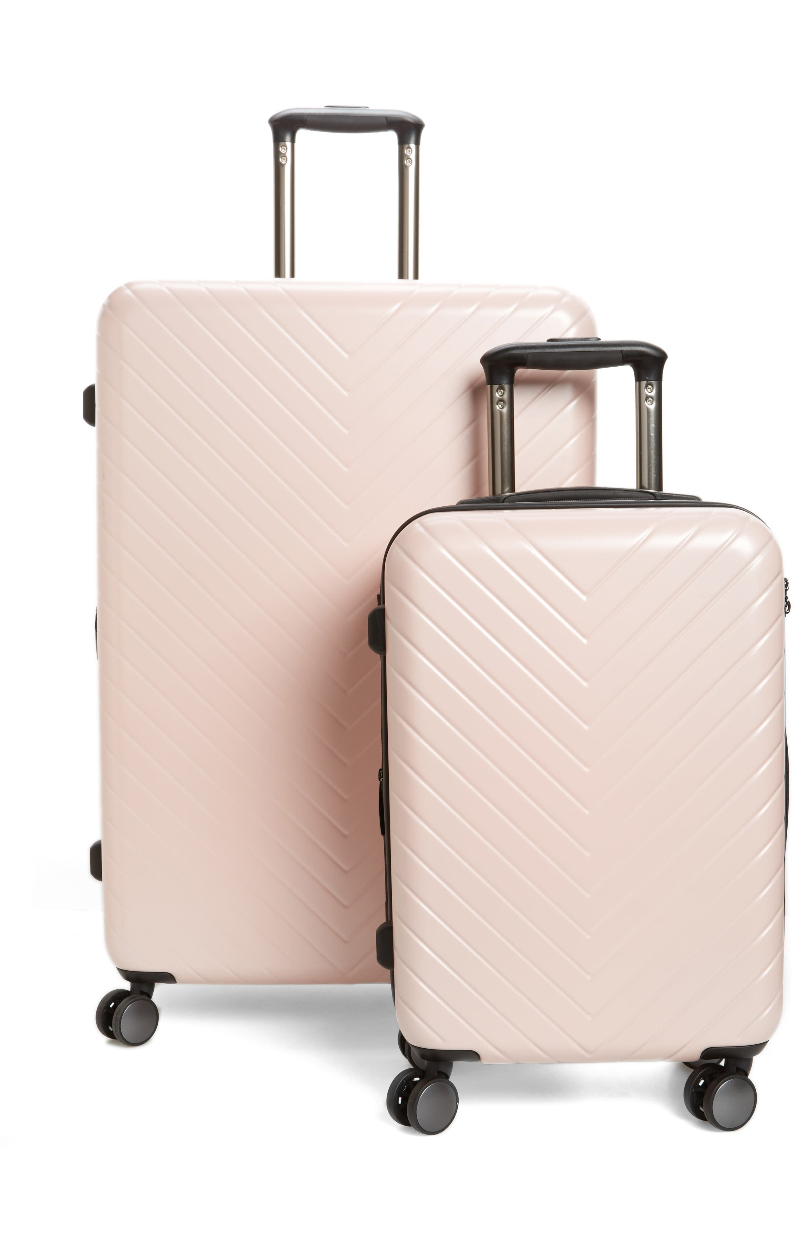 Chevron 29-Inch Spinner Suitcase,                             Alternate thumbnail 5, color,                             PINK HERO