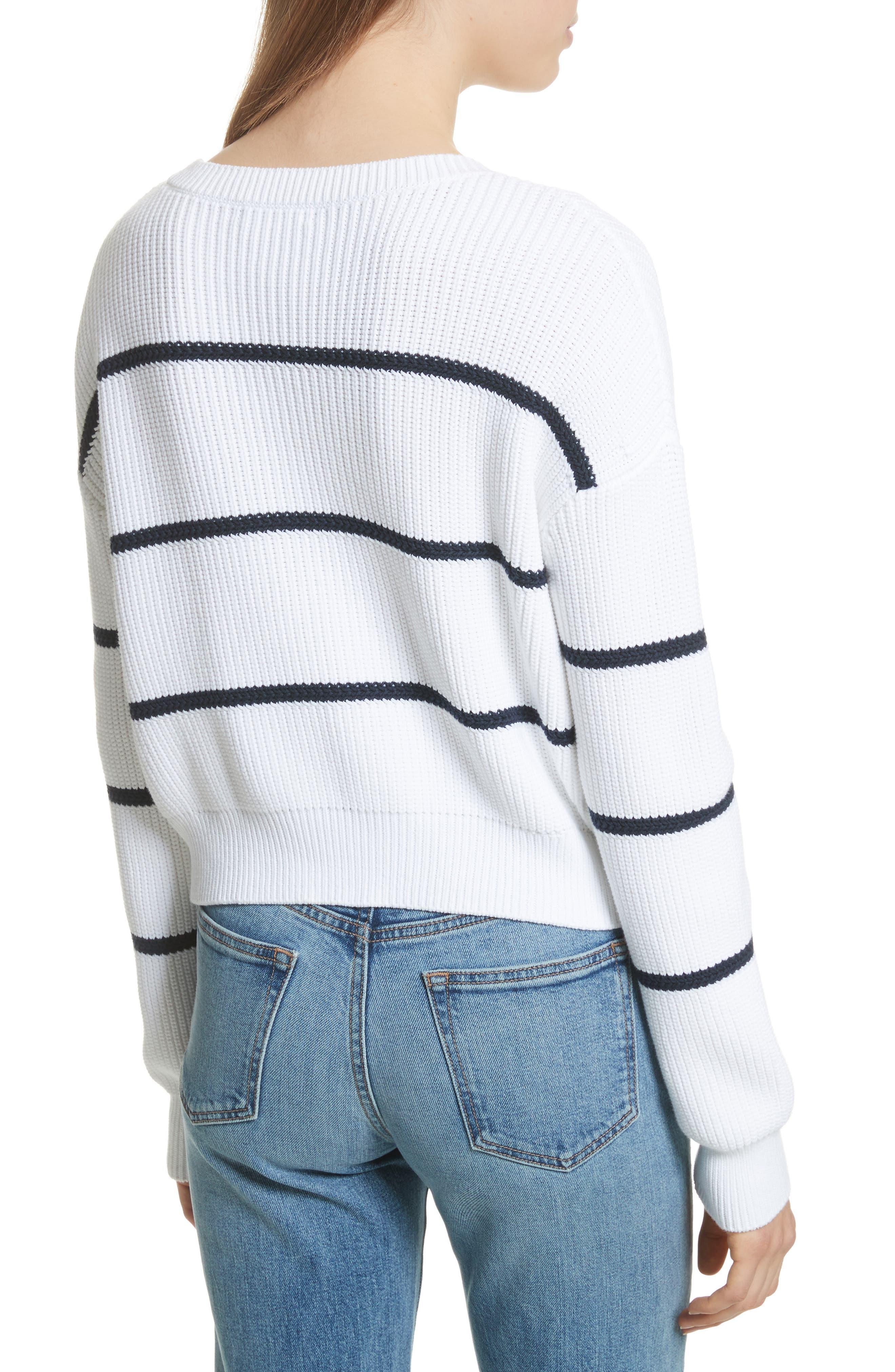 Cotton Blend Rib Knit Stripe Sweater,                             Alternate thumbnail 3, color,