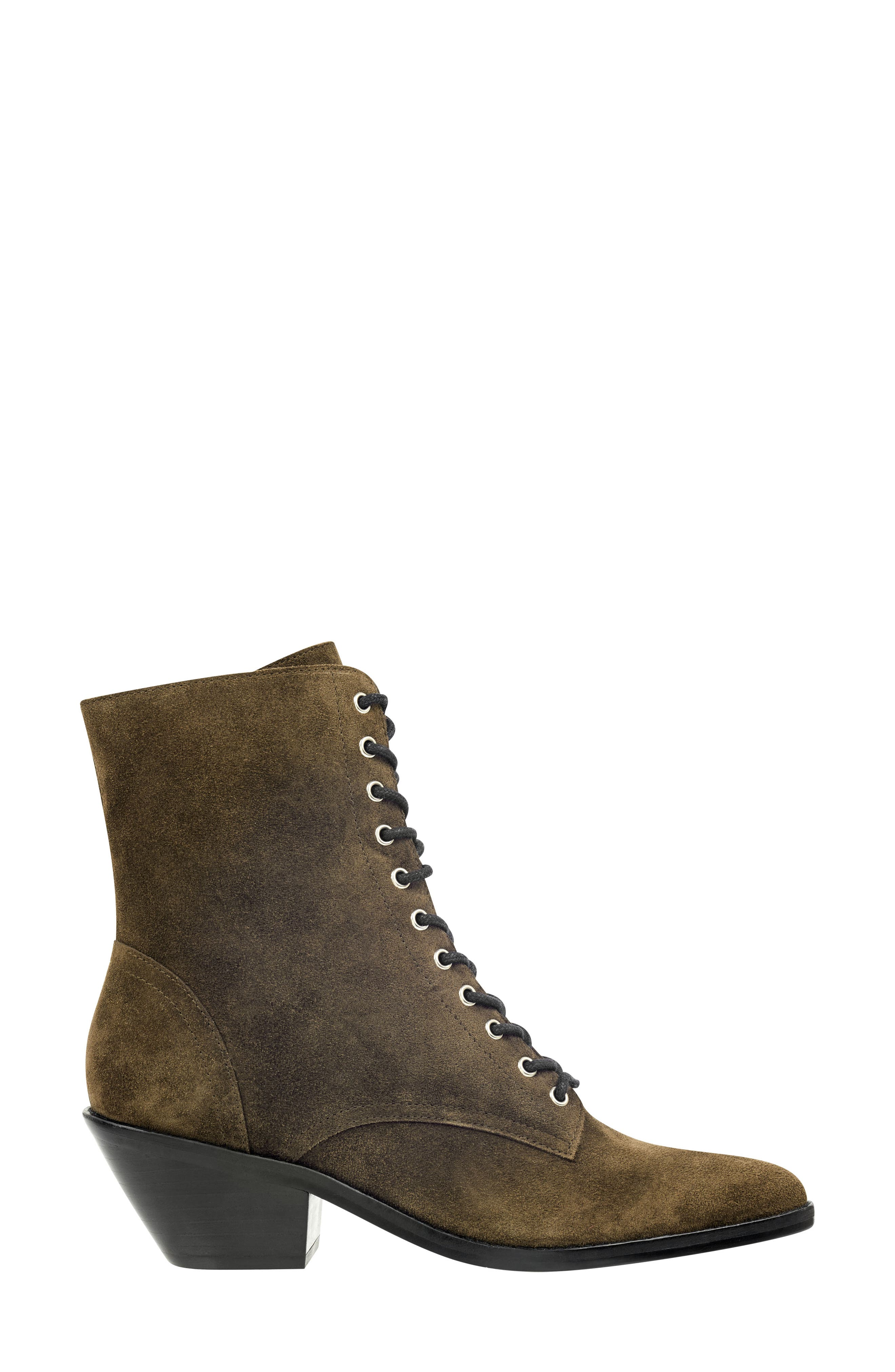 Bowie Lace-Up Boot,                             Alternate thumbnail 3, color,                             OLIVE SUEDE