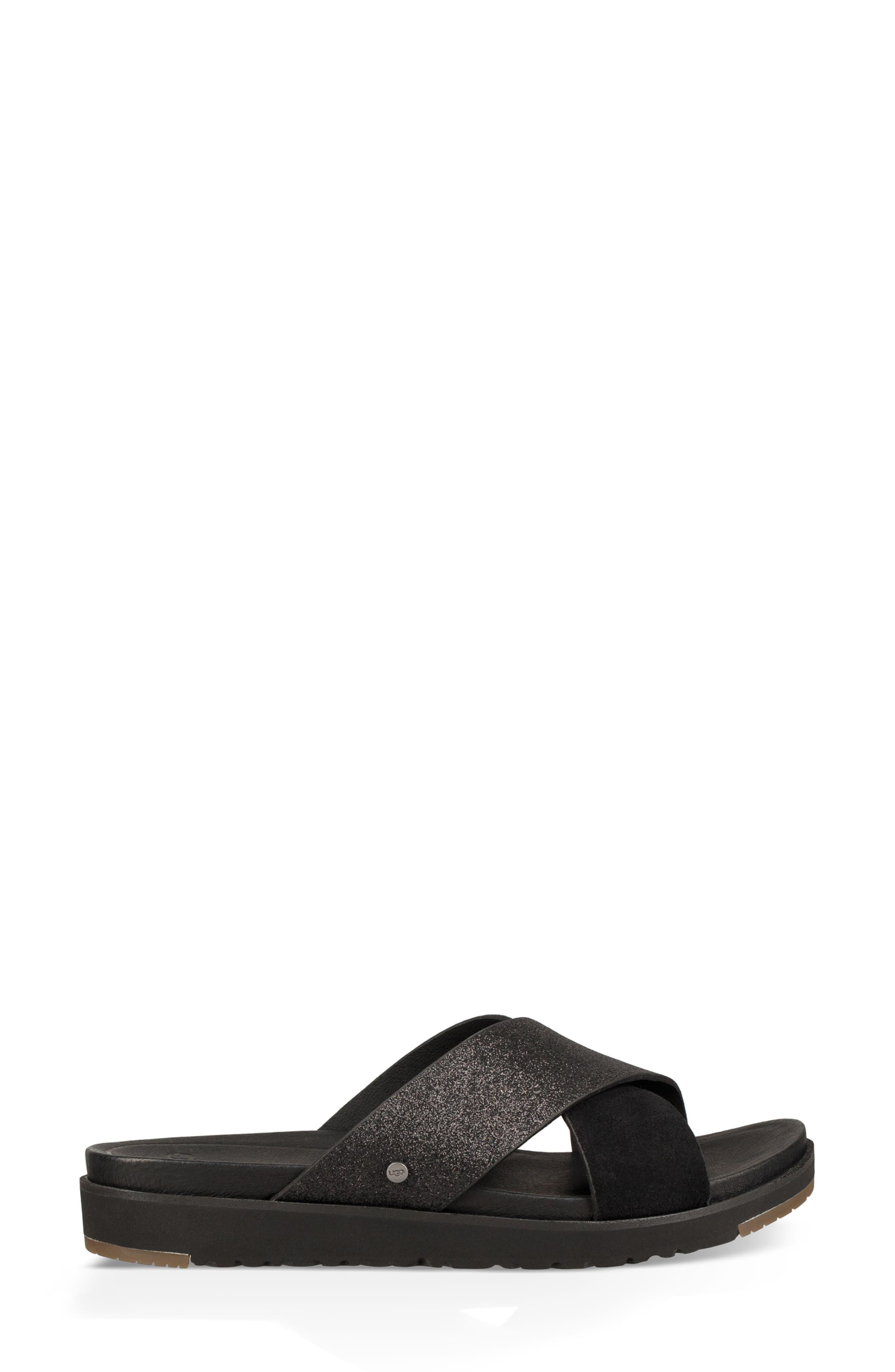 Kari Glitter Slide Sandal,                             Alternate thumbnail 3, color,                             BLACK LEATHER