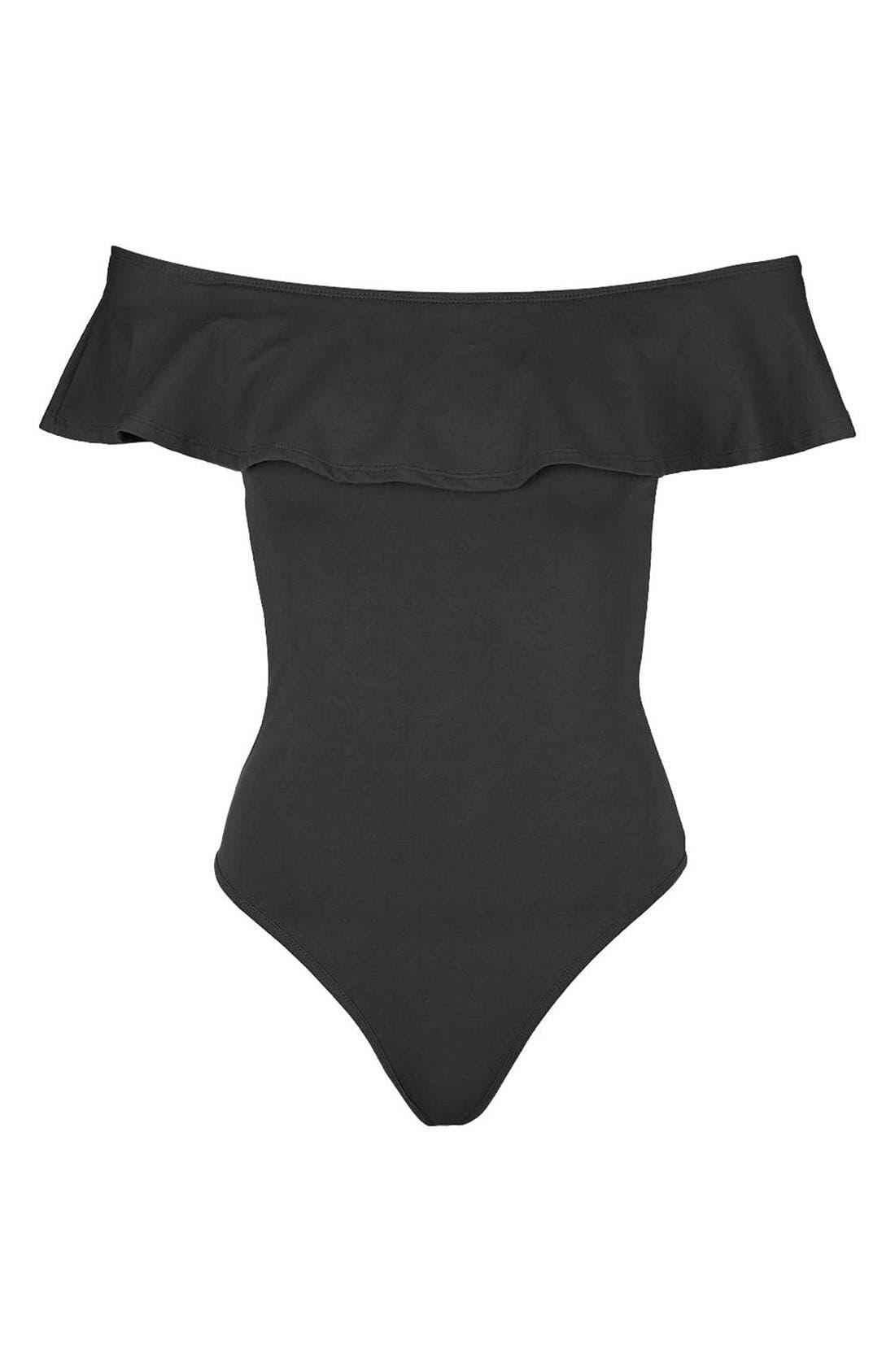 Ruffle Off the Shoulder Bodysuit,                             Alternate thumbnail 5, color,                             001