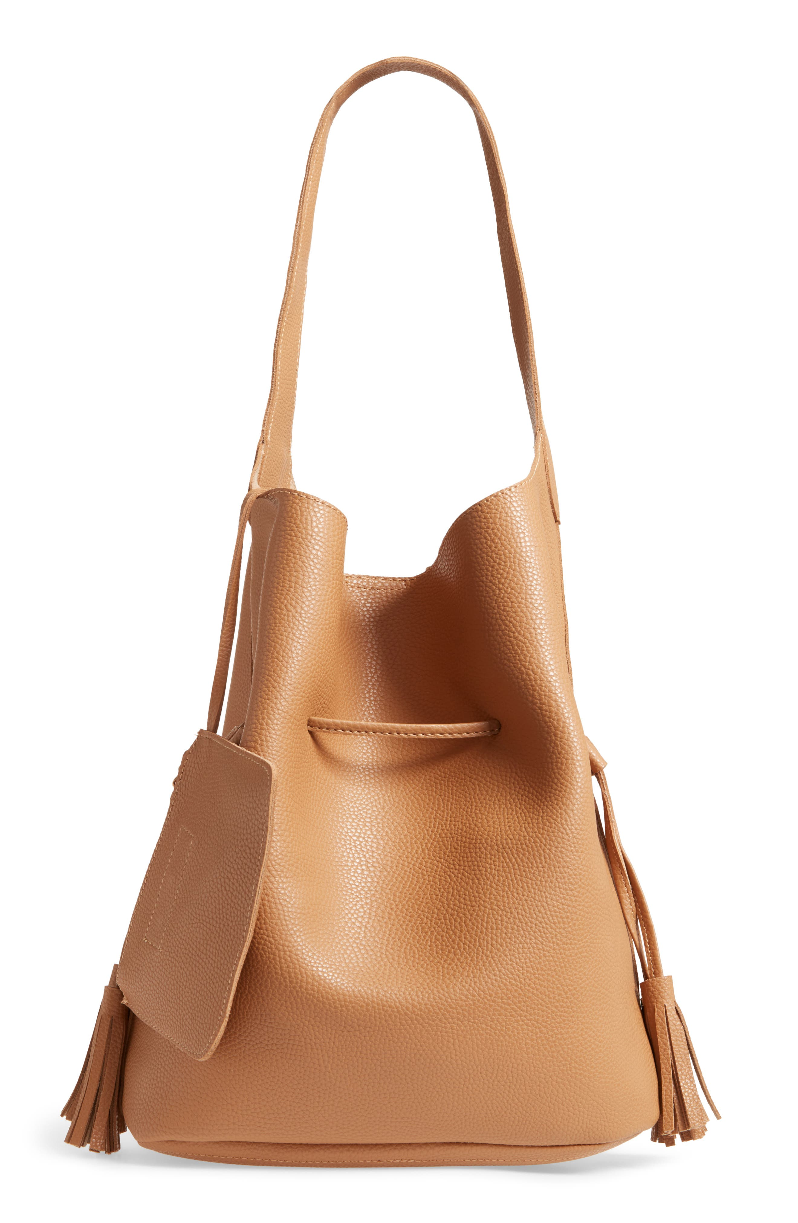Drawstring Faux Leather Bucket Bag,                             Alternate thumbnail 3, color,                             NUDE