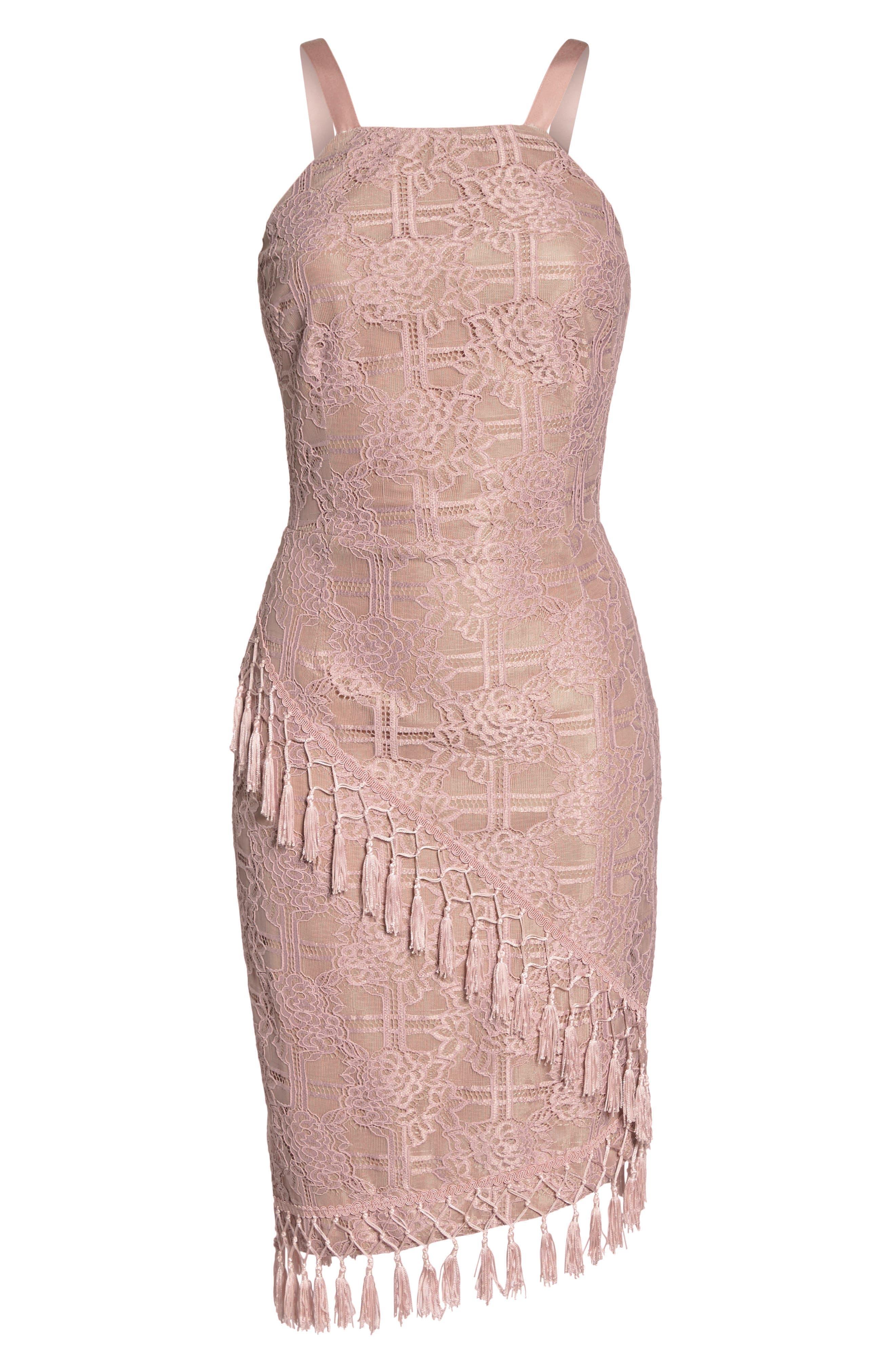 Natasha Asymmetrical Lace Dress,                             Alternate thumbnail 7, color,                             250