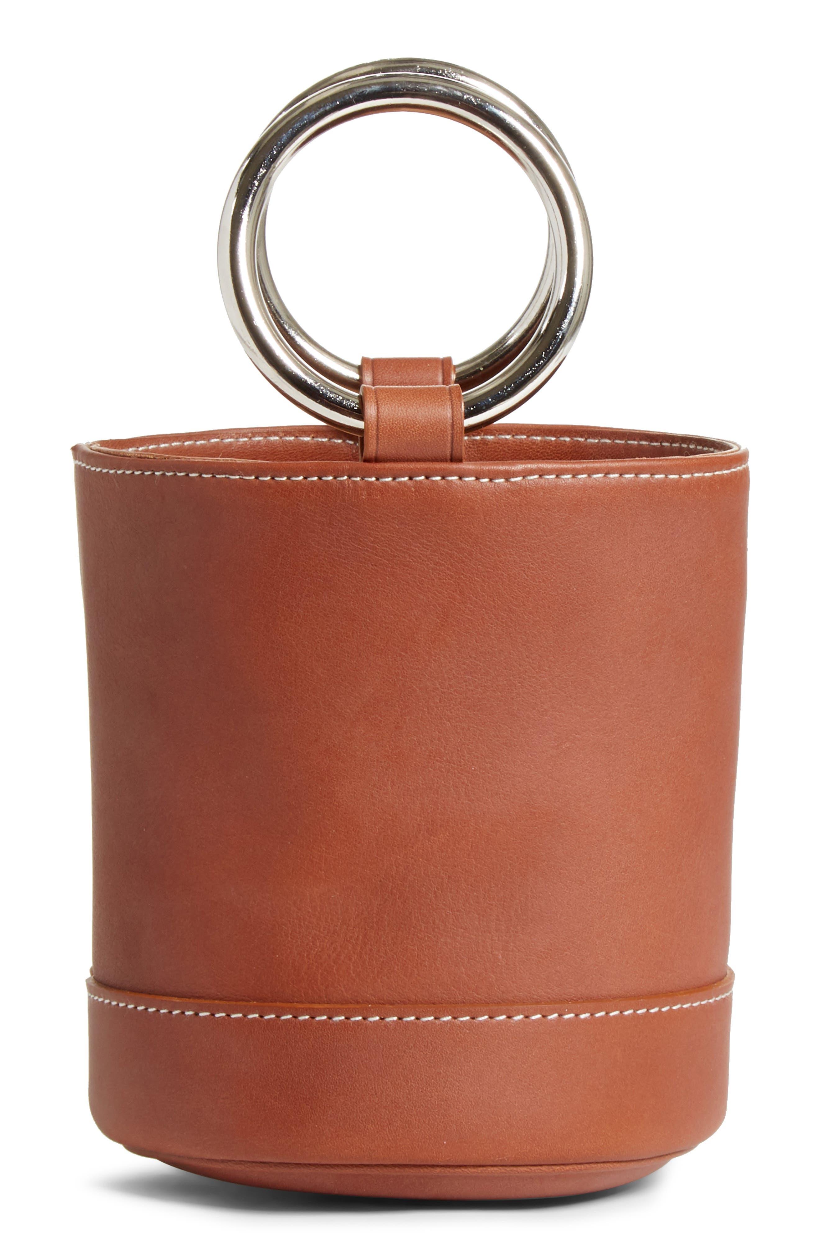 Bonsai 15 Calfskin Leather Bucket Bag,                             Main thumbnail 1, color,                             DARK TAN