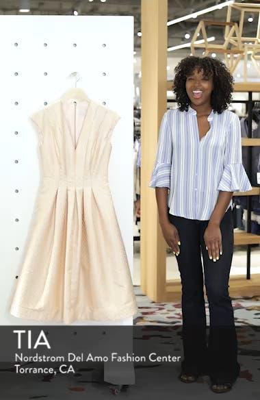 Grace Pleated Jacquard Fit & Flare Dress, sales video thumbnail
