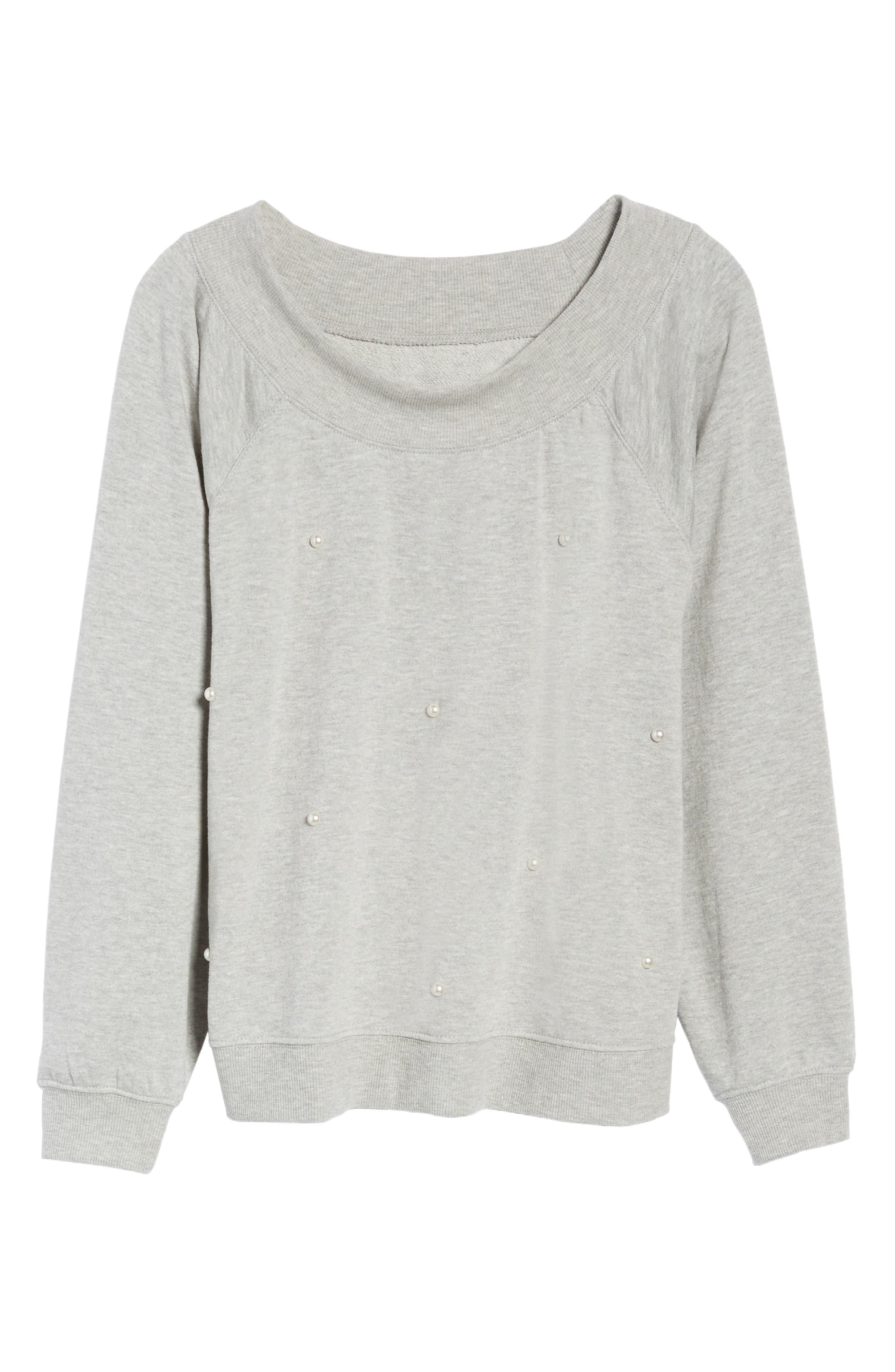 Embellished Off the Shoulder Sweatshirt,                             Alternate thumbnail 6, color,                             020