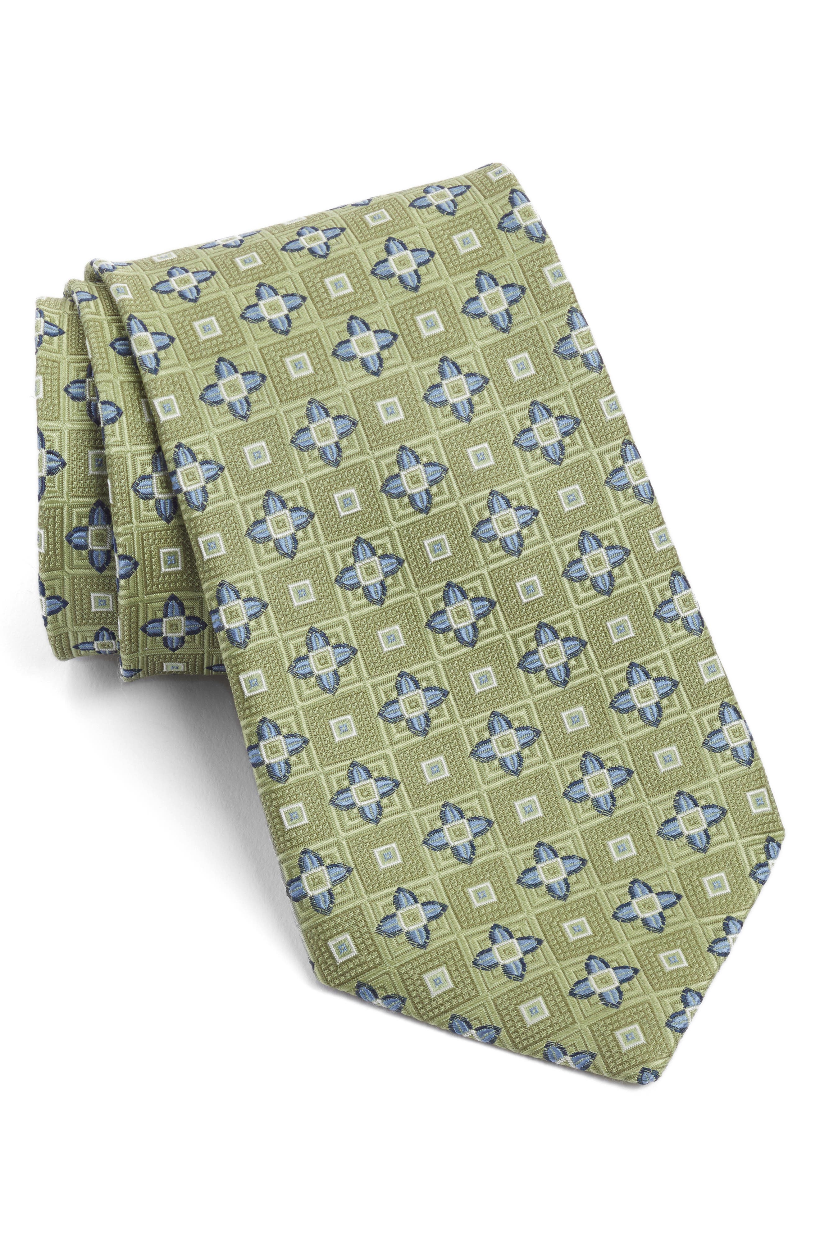 Floral Medallion Silk Tie,                         Main,                         color, 300