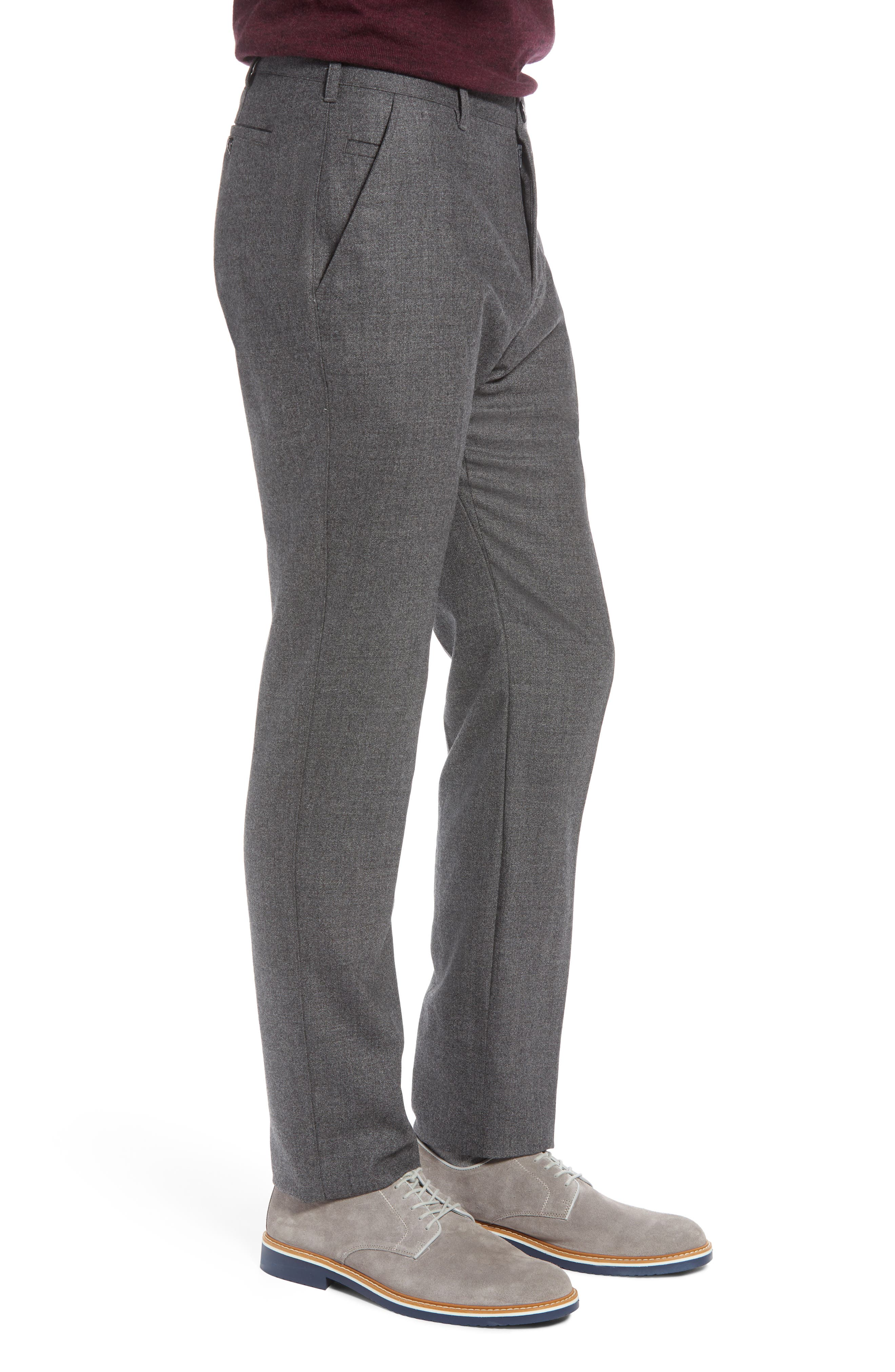 Flat Front Mélange Wool Extra Trim Fit Trousers,                             Alternate thumbnail 3, color,                             GREY