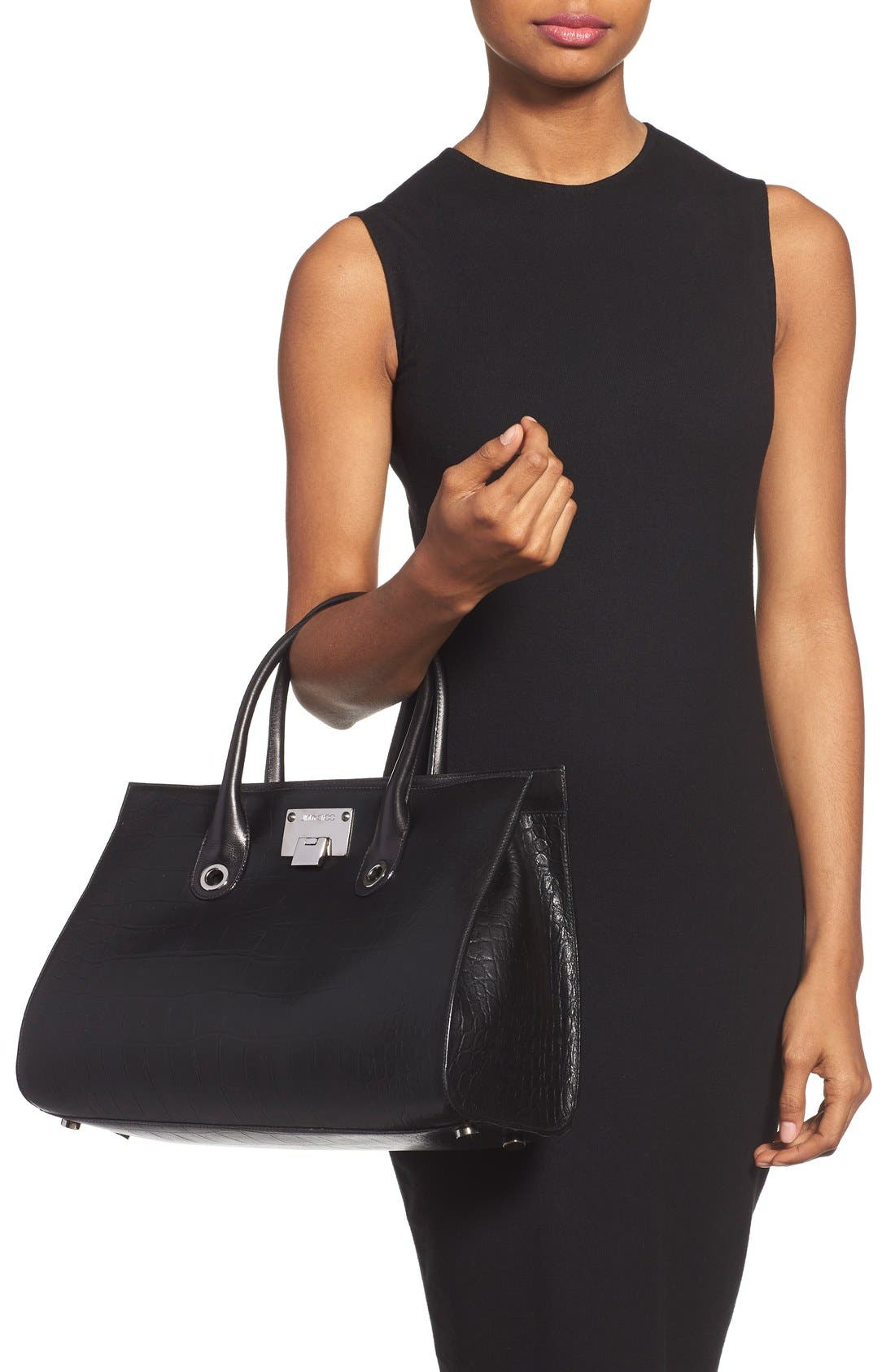 'Riley' Leather Tote,                             Alternate thumbnail 2, color,                             001