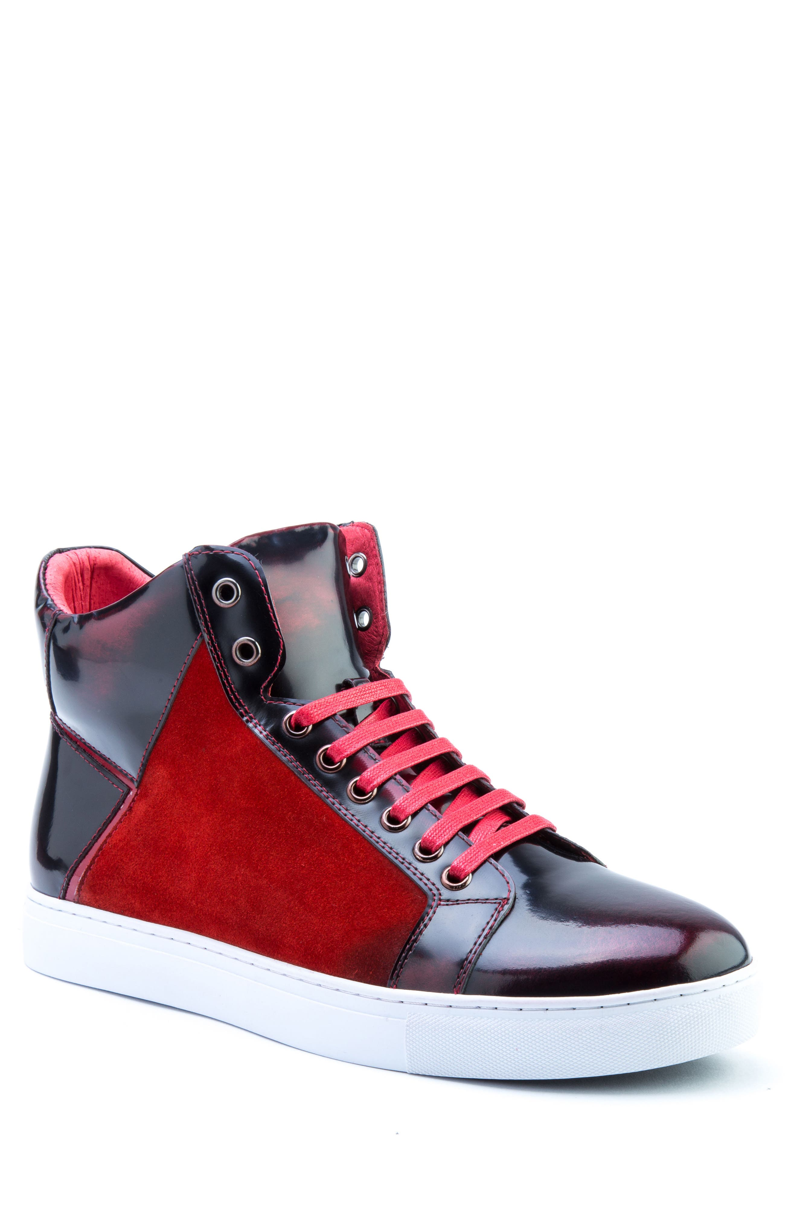 Douglas High Top Sneaker,                             Main thumbnail 1, color,                             RED LEATHER