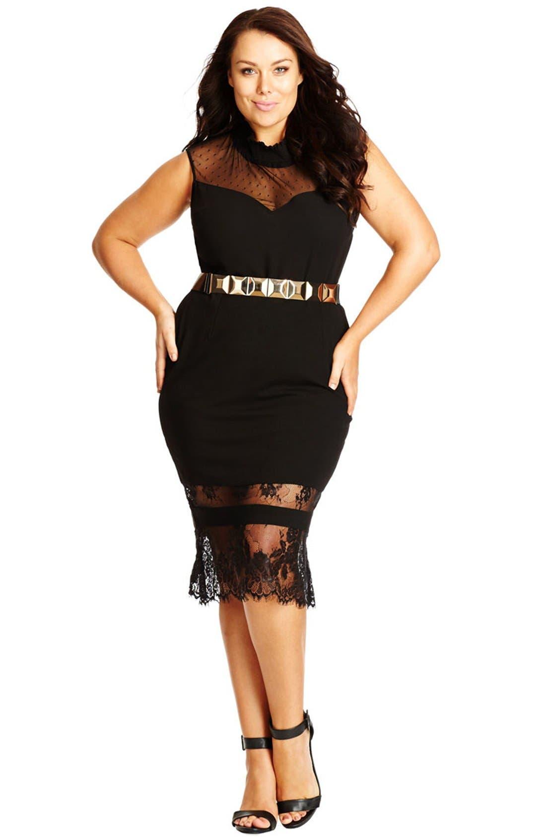 Lace Hem Tube Skirt,                             Alternate thumbnail 2, color,                             BLACK