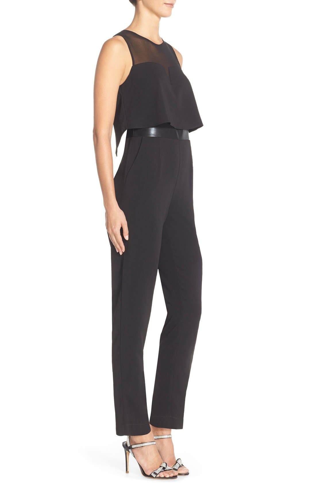 Popover Mixed Media Jumpsuit,                             Alternate thumbnail 3, color,                             001