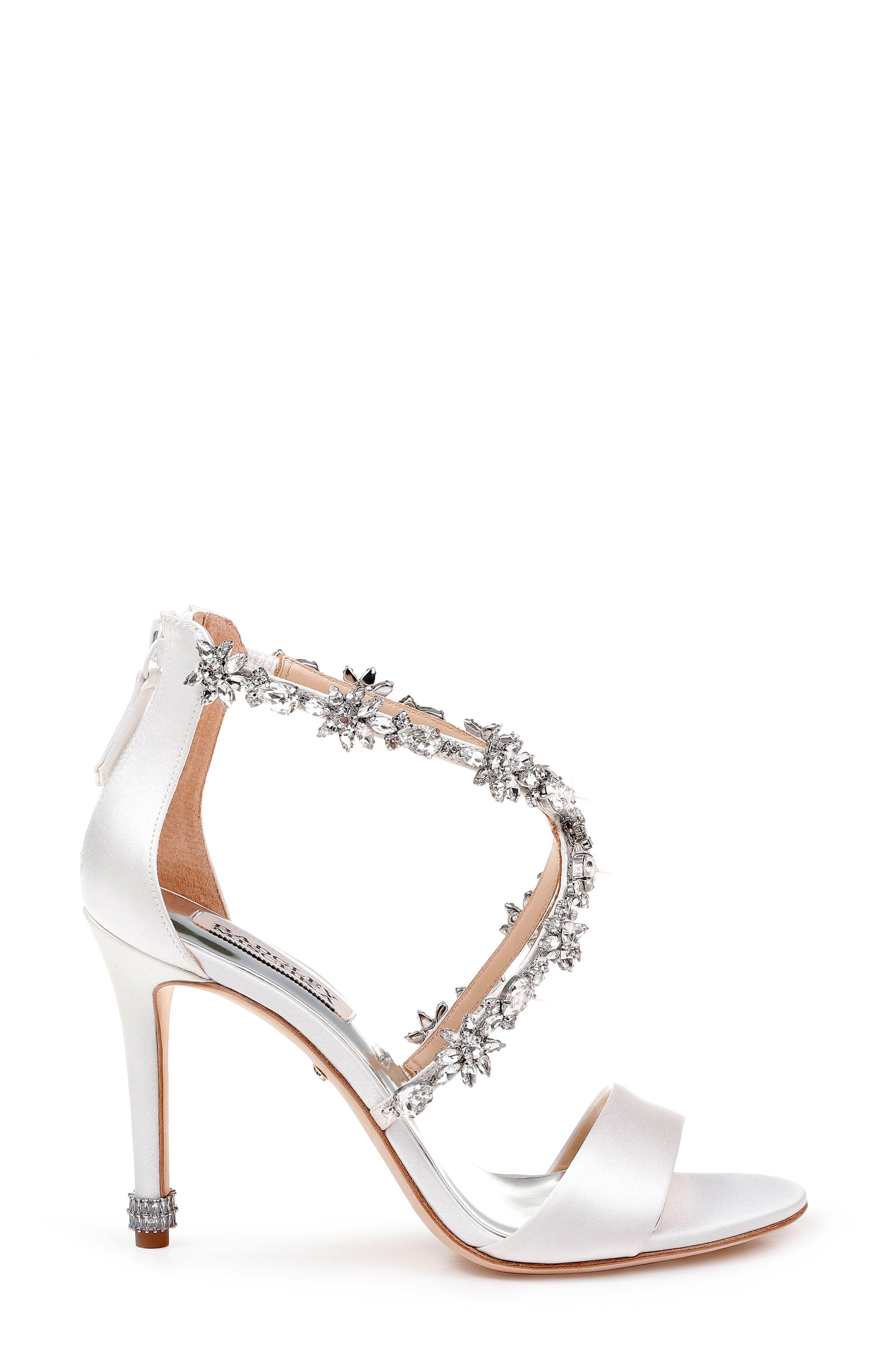 Crystal Embellished Sandal,                             Alternate thumbnail 3, color,                             SOFT WHITE SATIN