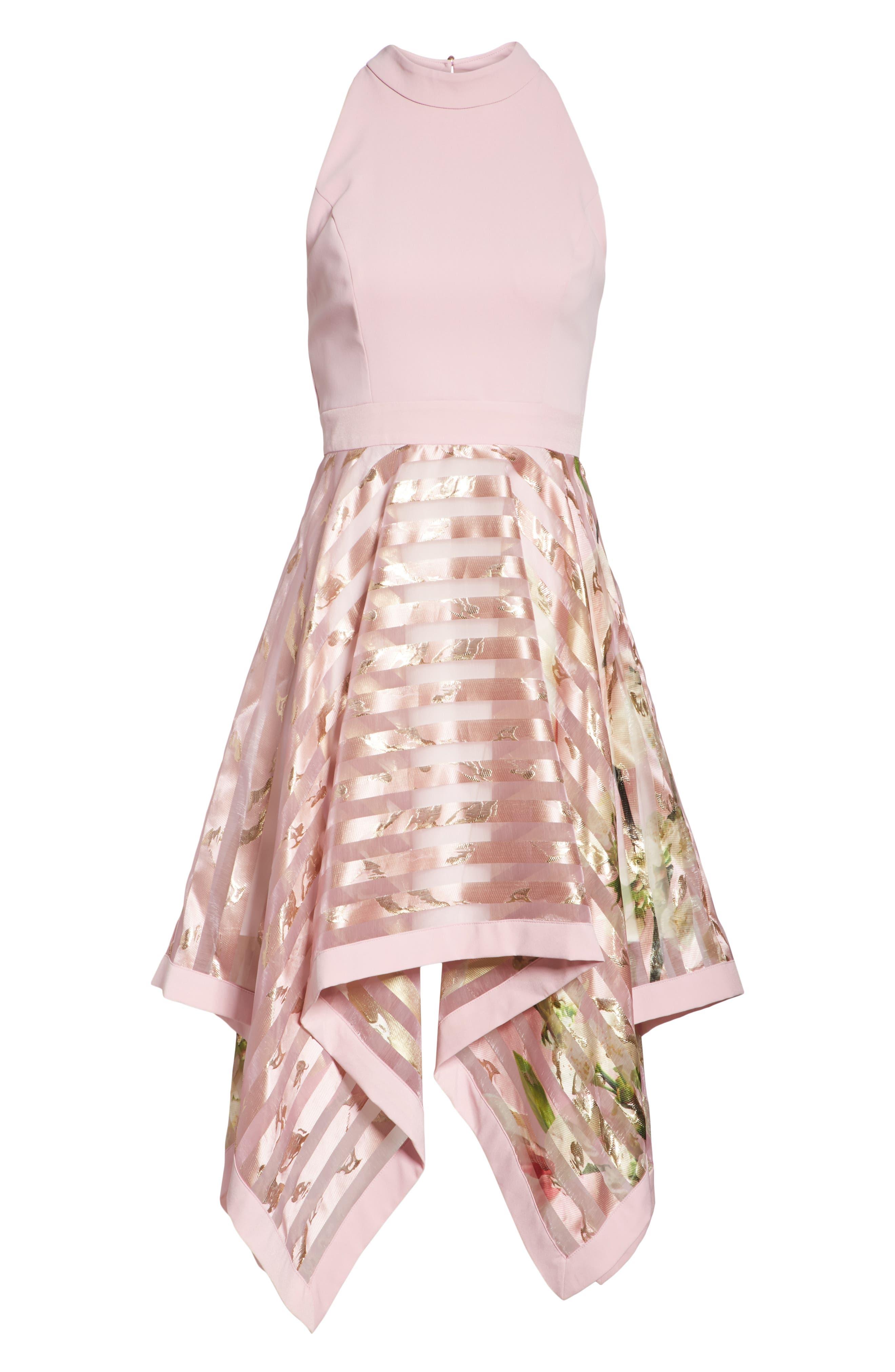 Harmony Burnout Metallic Stripe Dress,                             Alternate thumbnail 6, color,                             PALE PINK