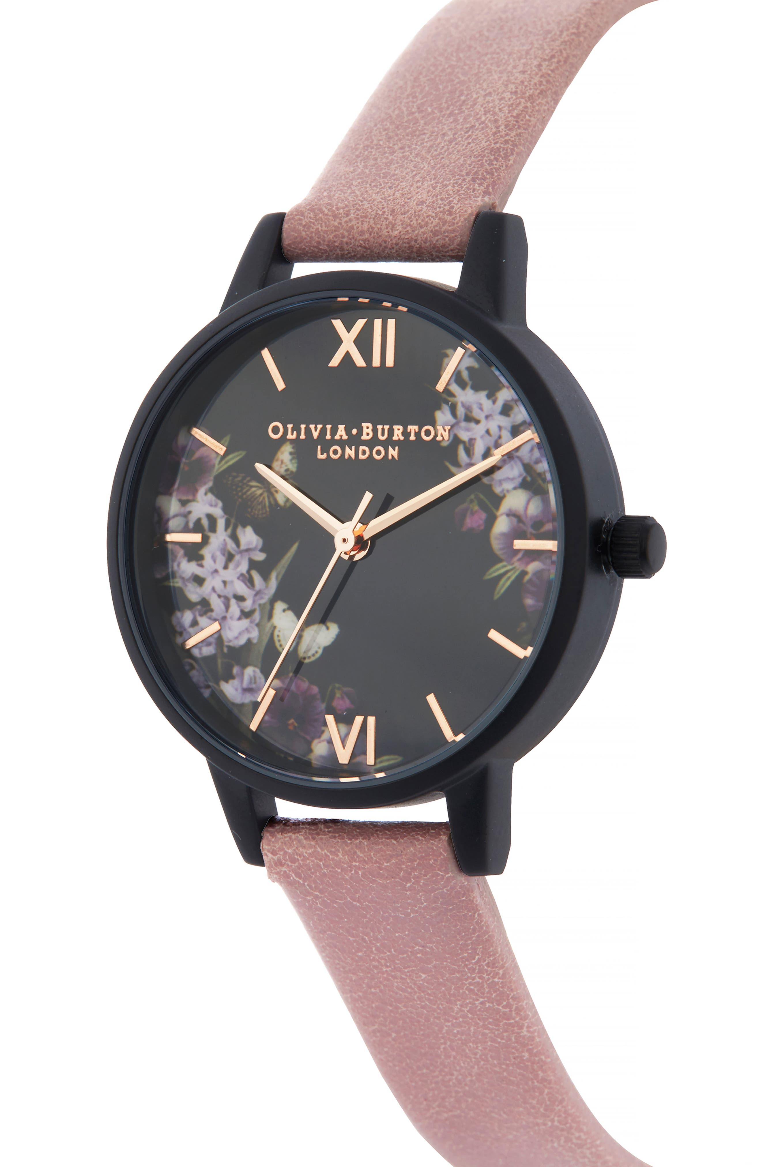 After Dark Leather Strap Watch, 30mm,                             Alternate thumbnail 3, color,                             DUSTY ROSE/ FLORAL/ BLACK