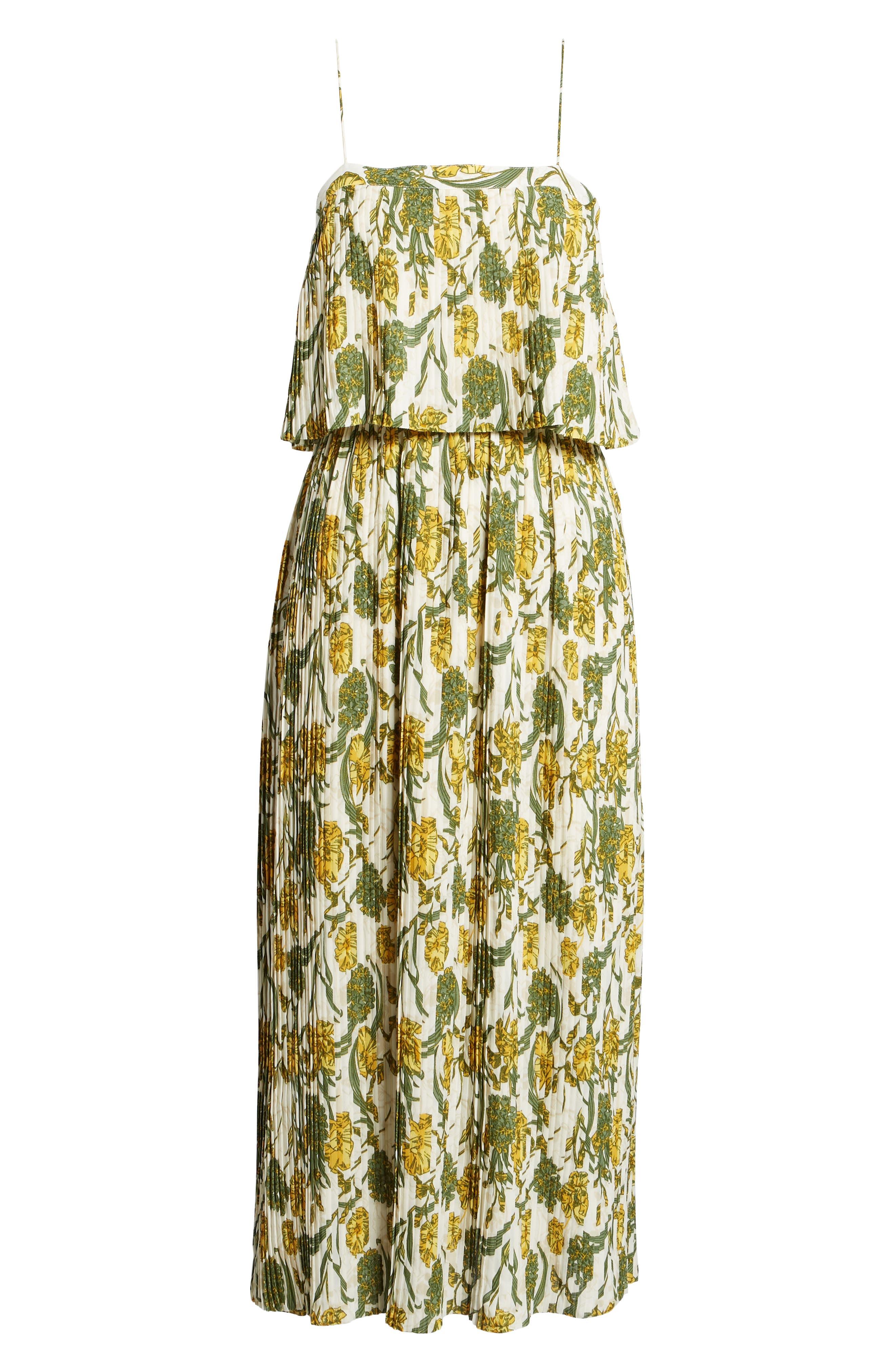 Pleated Midi Dress,                             Alternate thumbnail 6, color,                             900