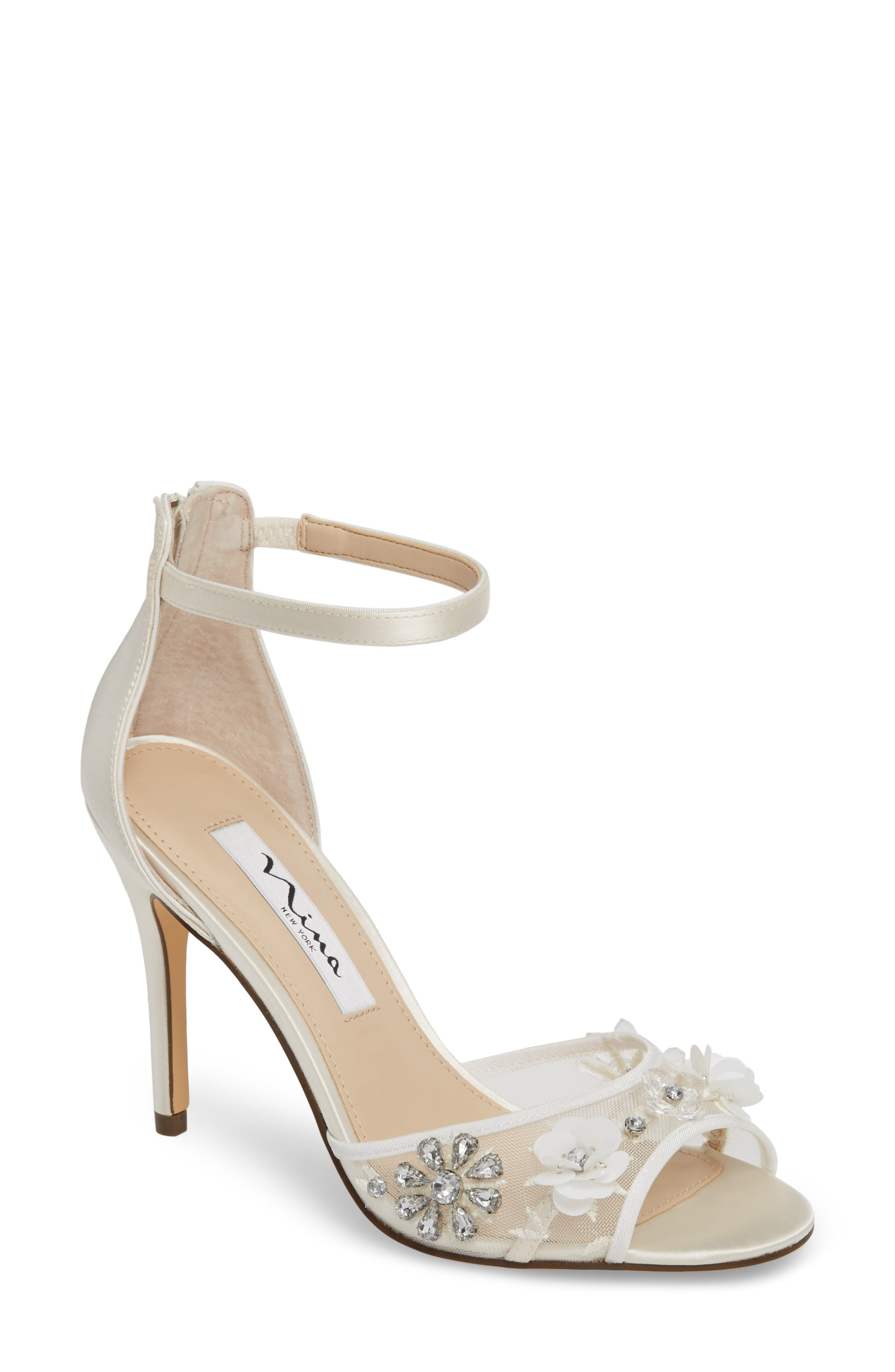 Clarity Ankle Strap Sandal,                             Main thumbnail 1, color,                             IVORY SATIN