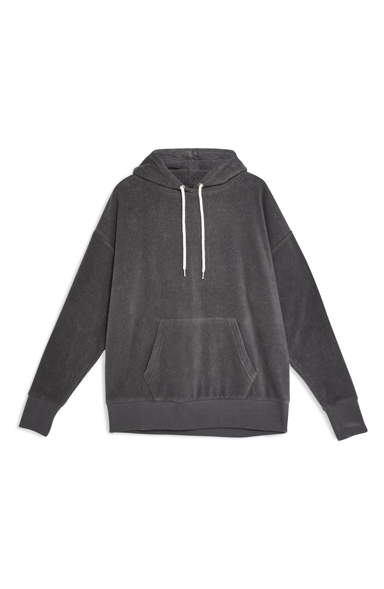 Bobbly Textured Hoodie,                             Alternate thumbnail 3, color,                             CHARCOAL