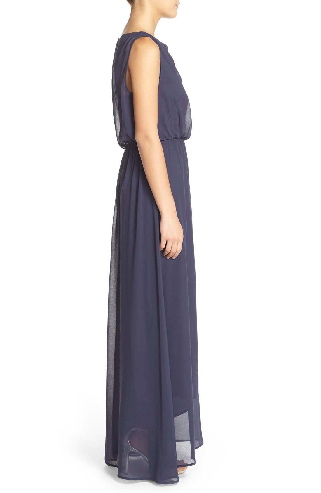 by Lauren Conrad 'Springfield' Cowl Neck Chiffon Gown,                             Alternate thumbnail 3, color,                             410