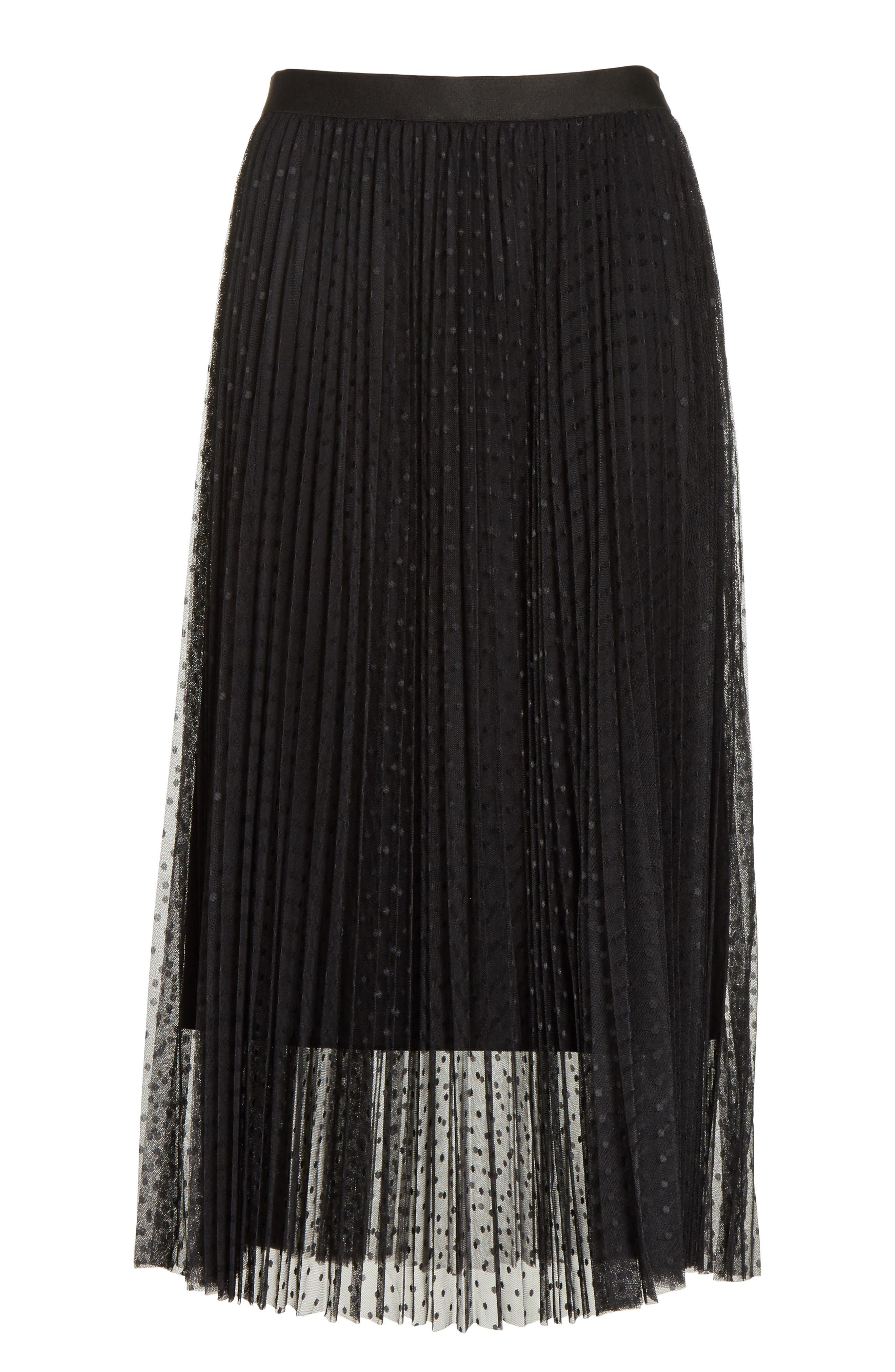 Pleated Polka Dot Mesh Midi Skirt,                             Alternate thumbnail 6, color,                             001