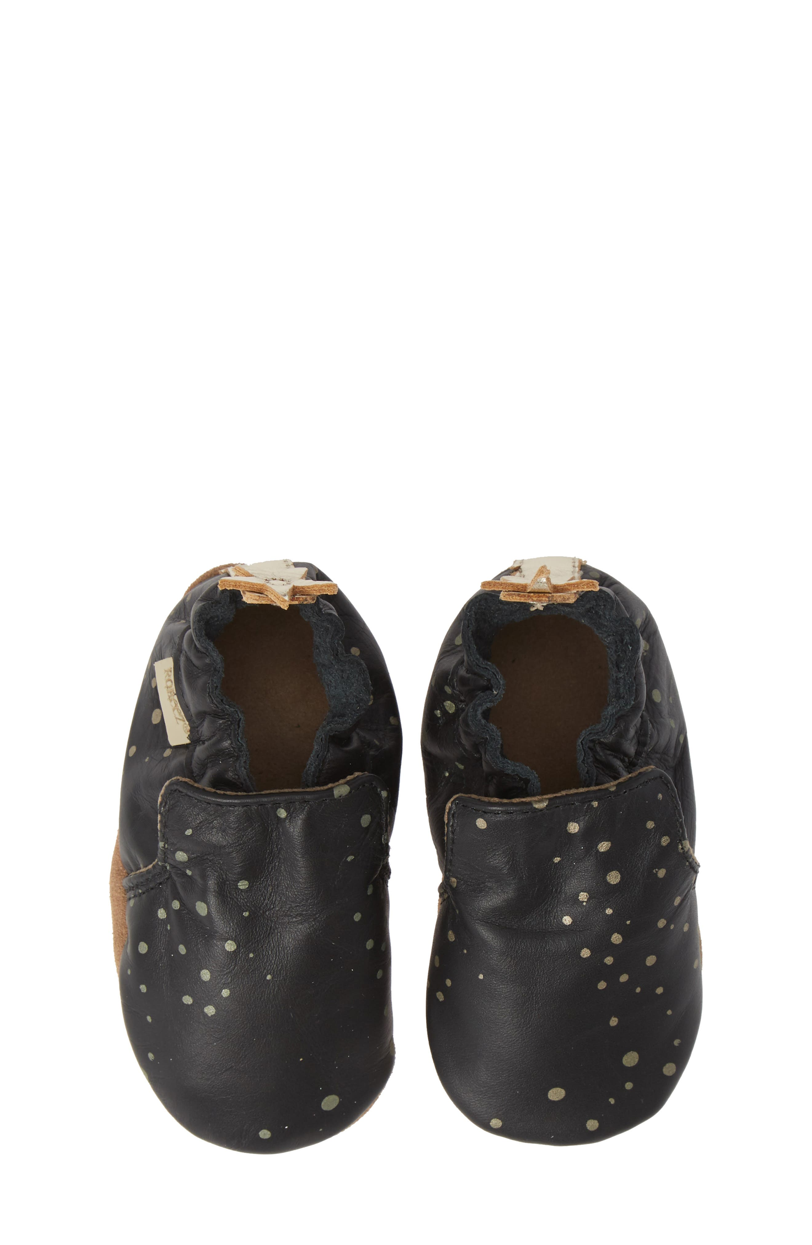 Galaxy Girl Moccasin Crib Shoe,                             Main thumbnail 1, color,                             BLACK