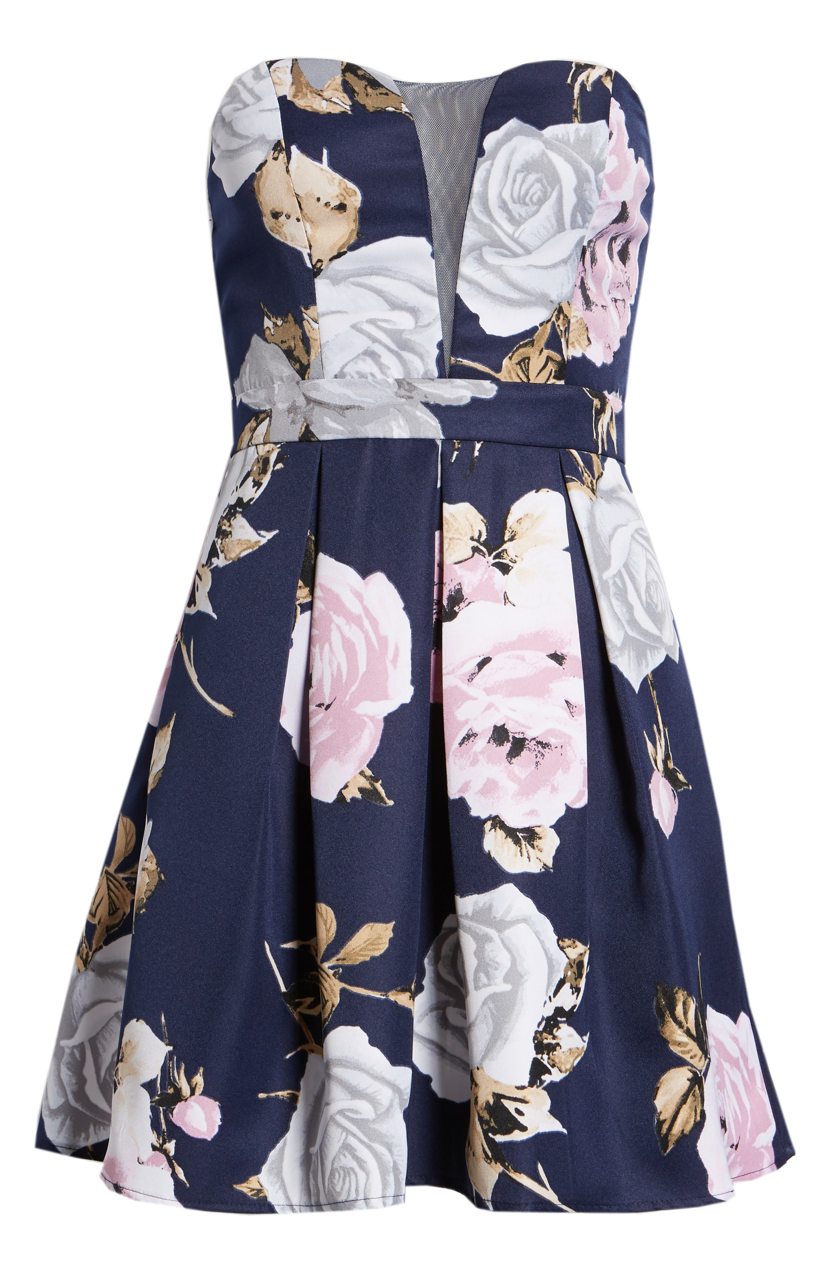 Floral Strapless Dress,                             Alternate thumbnail 7, color,                             NAVY/ GREEN